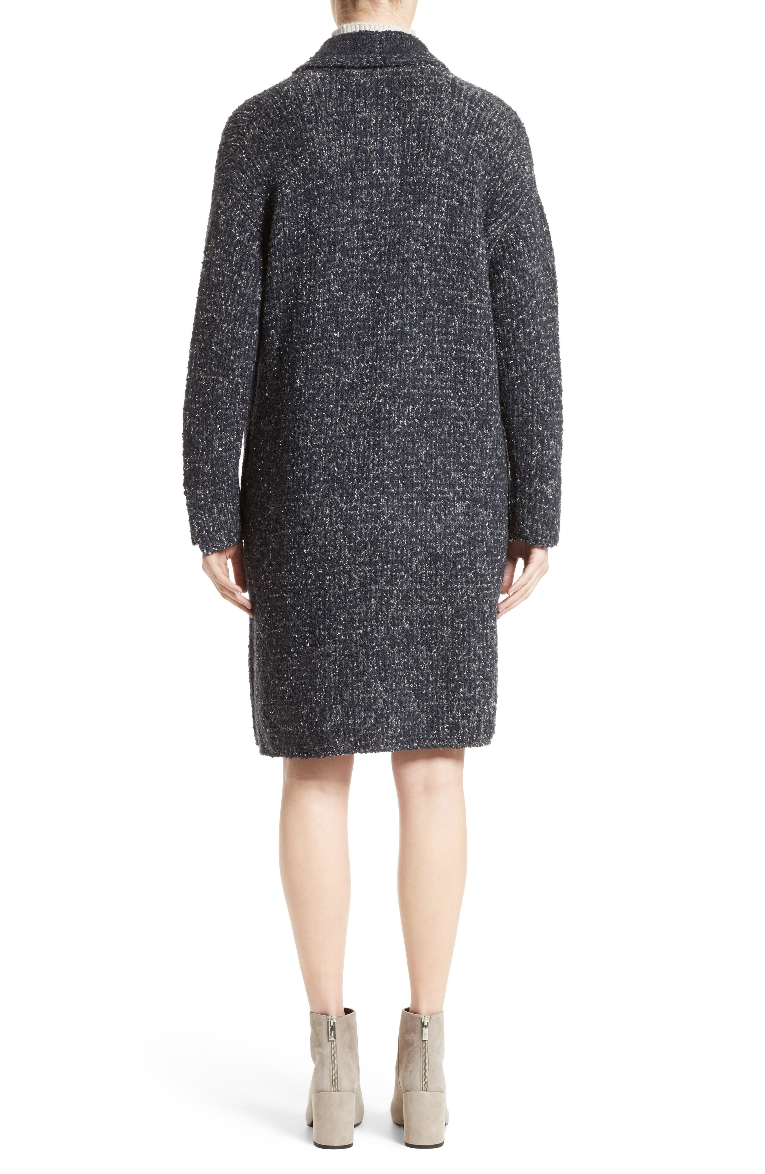 Wool Blend Bouclé Long Cardigan,                             Alternate thumbnail 2, color,                             Grey Multi
