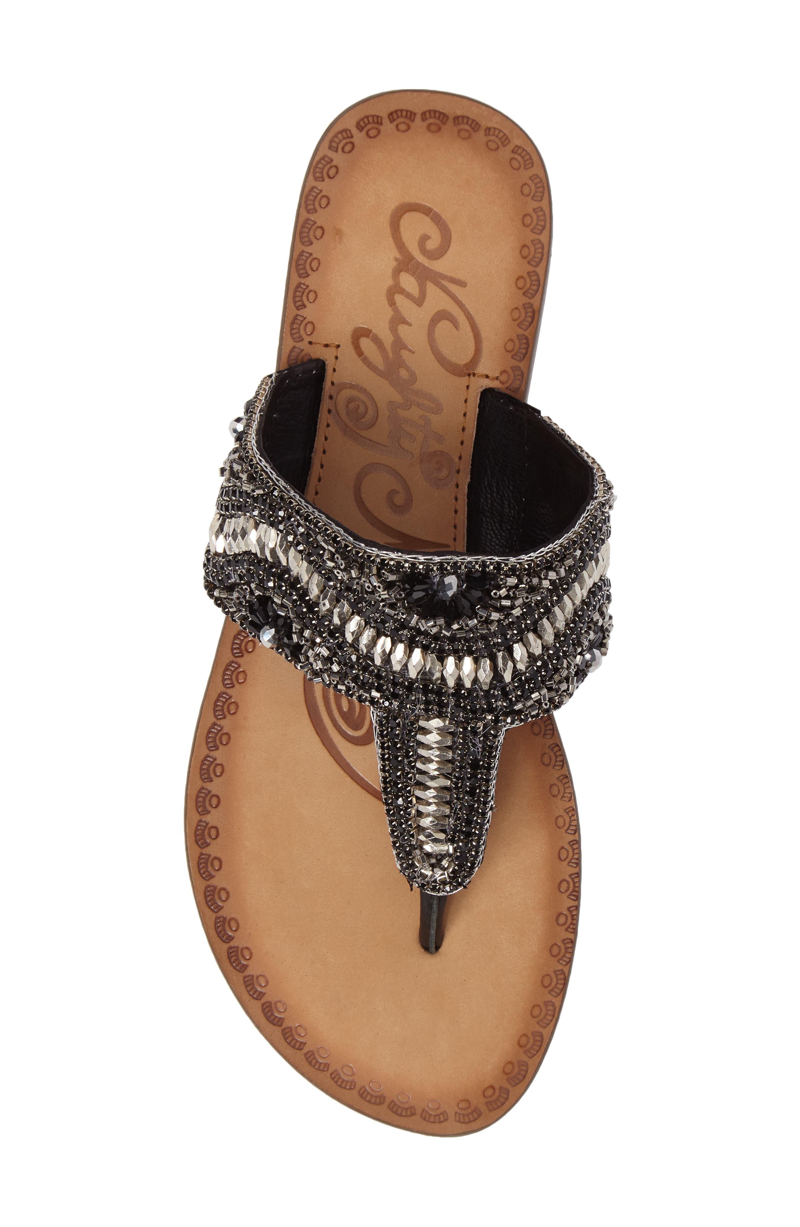 Lizabeth Embellished Sandal,                             Alternate thumbnail 5, color,                             Black Leather