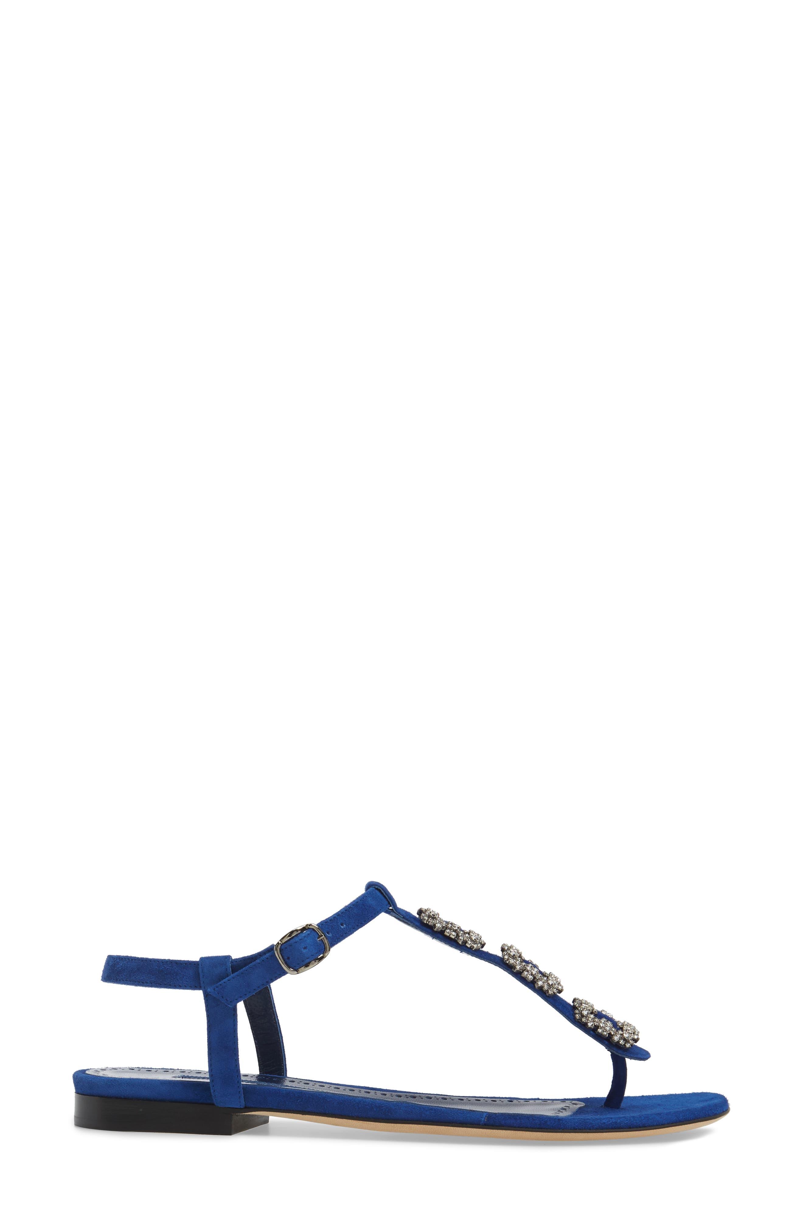 Ottolina T-Strap Sandal,                             Alternate thumbnail 3, color,                             Blue Suede