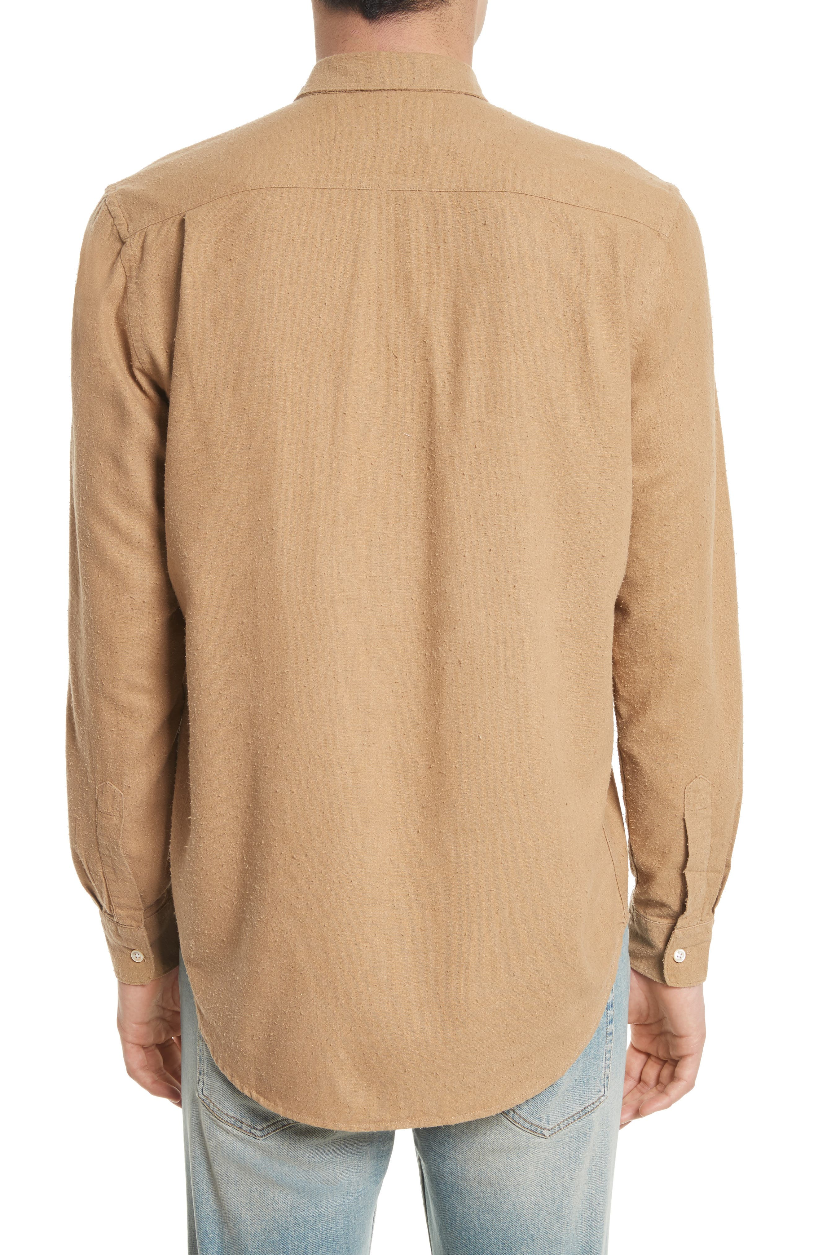 Regular Fit Silk Noil Sport Shirt,                             Alternate thumbnail 2, color,                             Tan
