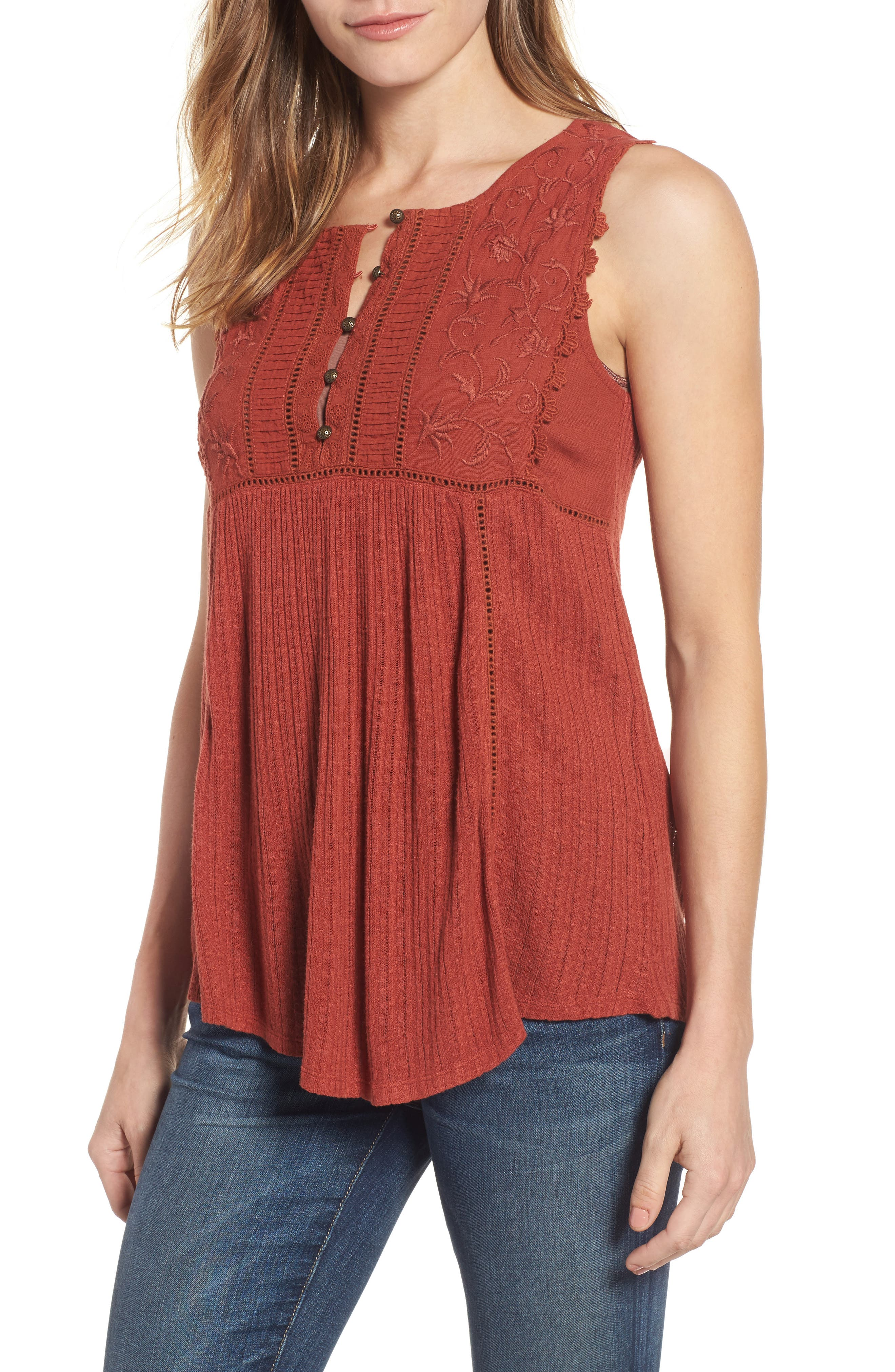 Embroidered Bib Tank,                         Main,                         color, Barn Red