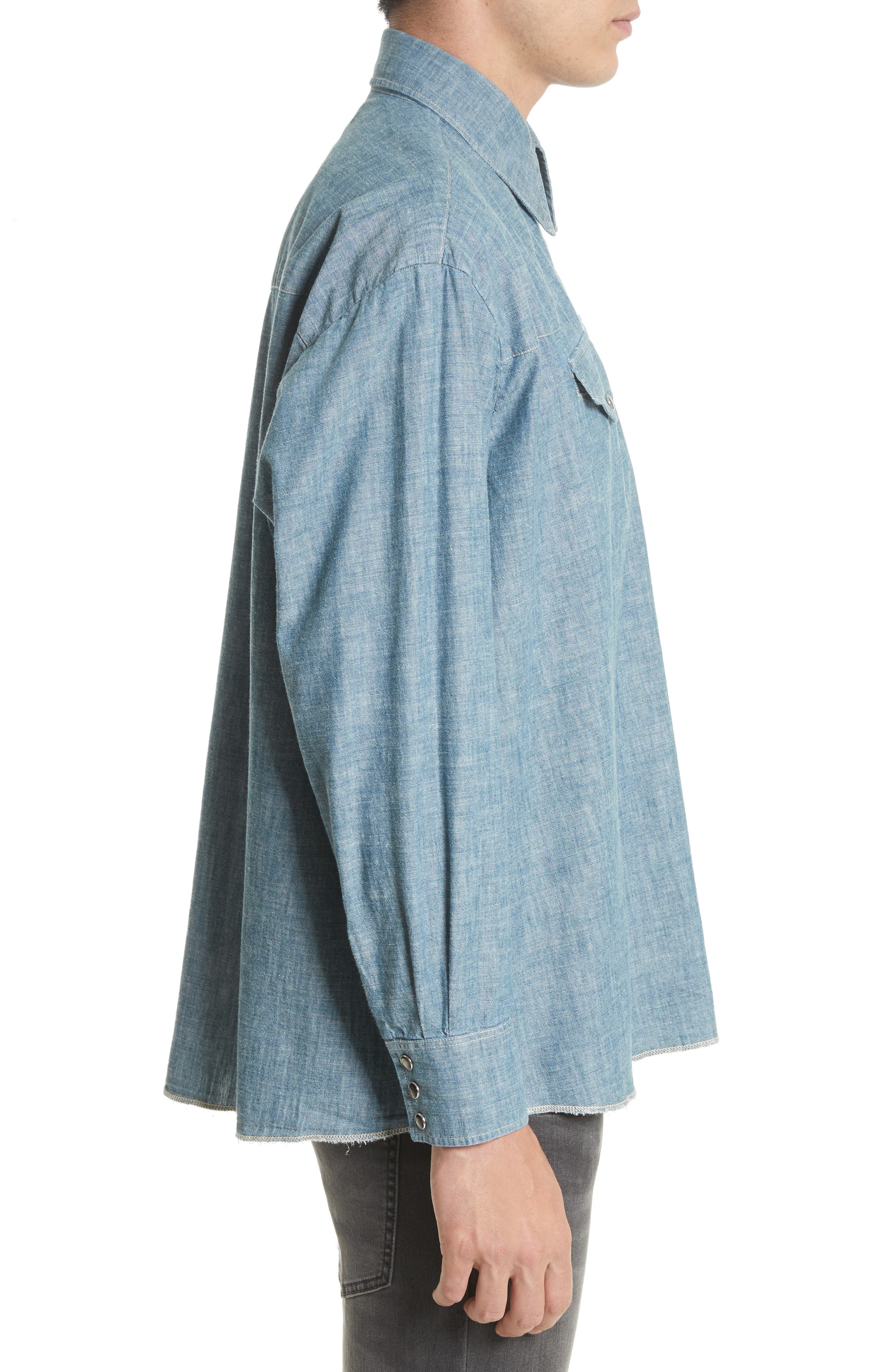 Oversize Chambray Snap Front Shirt,                             Alternate thumbnail 3, color,                             Blue