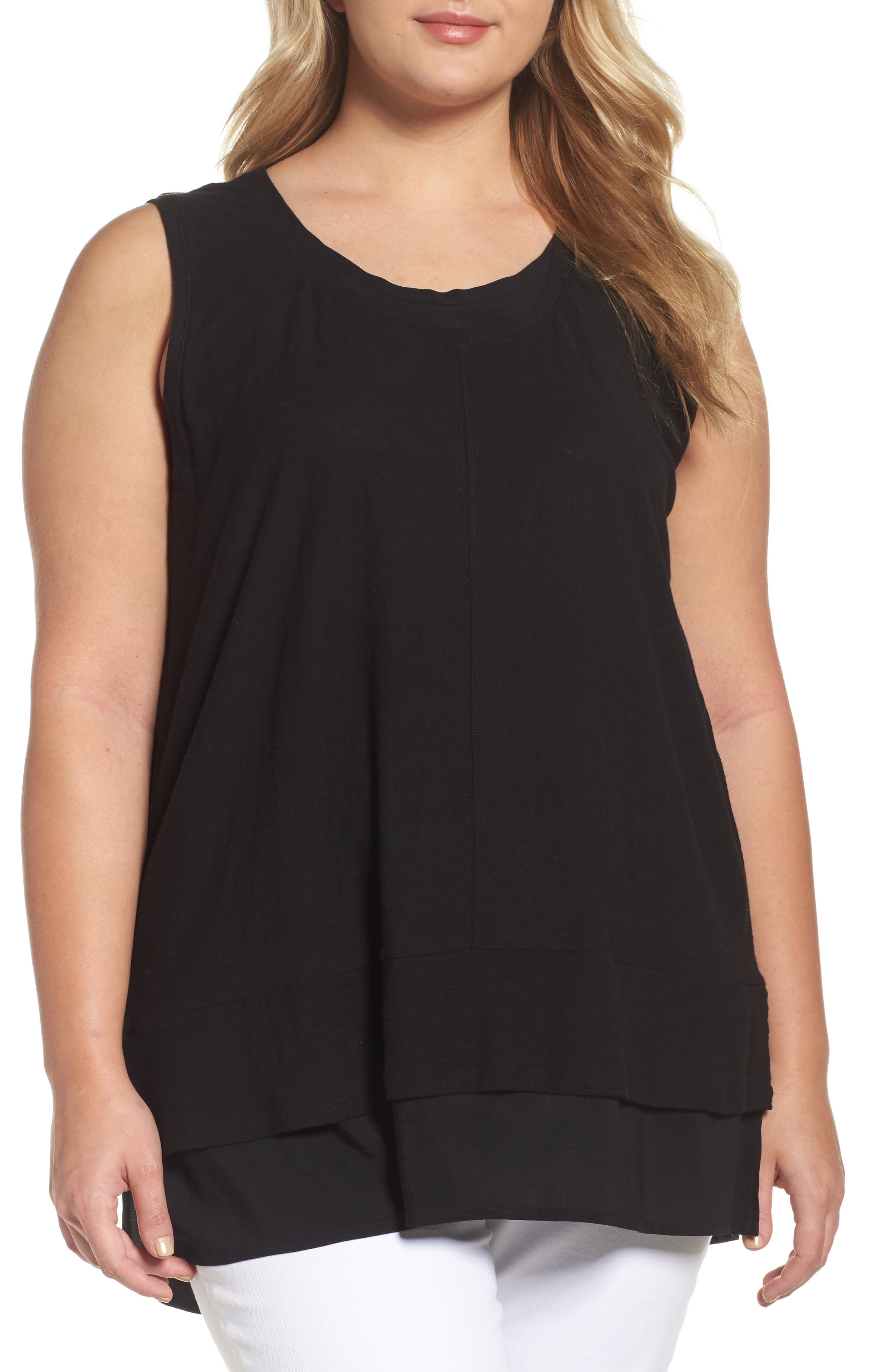 Vince Camuto Mixed Media Sleeveless Top,                         Main,                         color, Rich Black