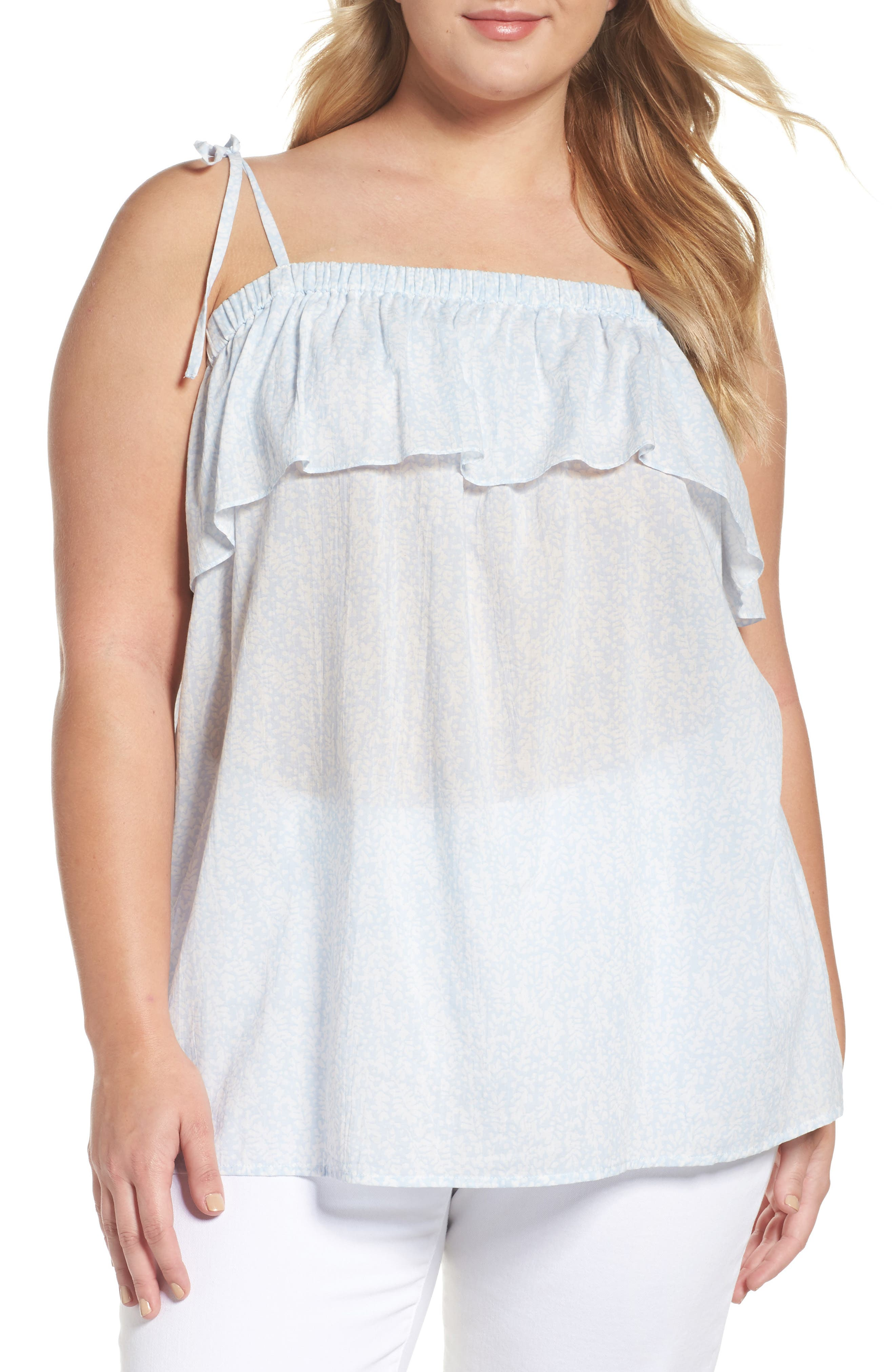 Two by Vince Camuto Cascading Petals Tank (Plus Size)