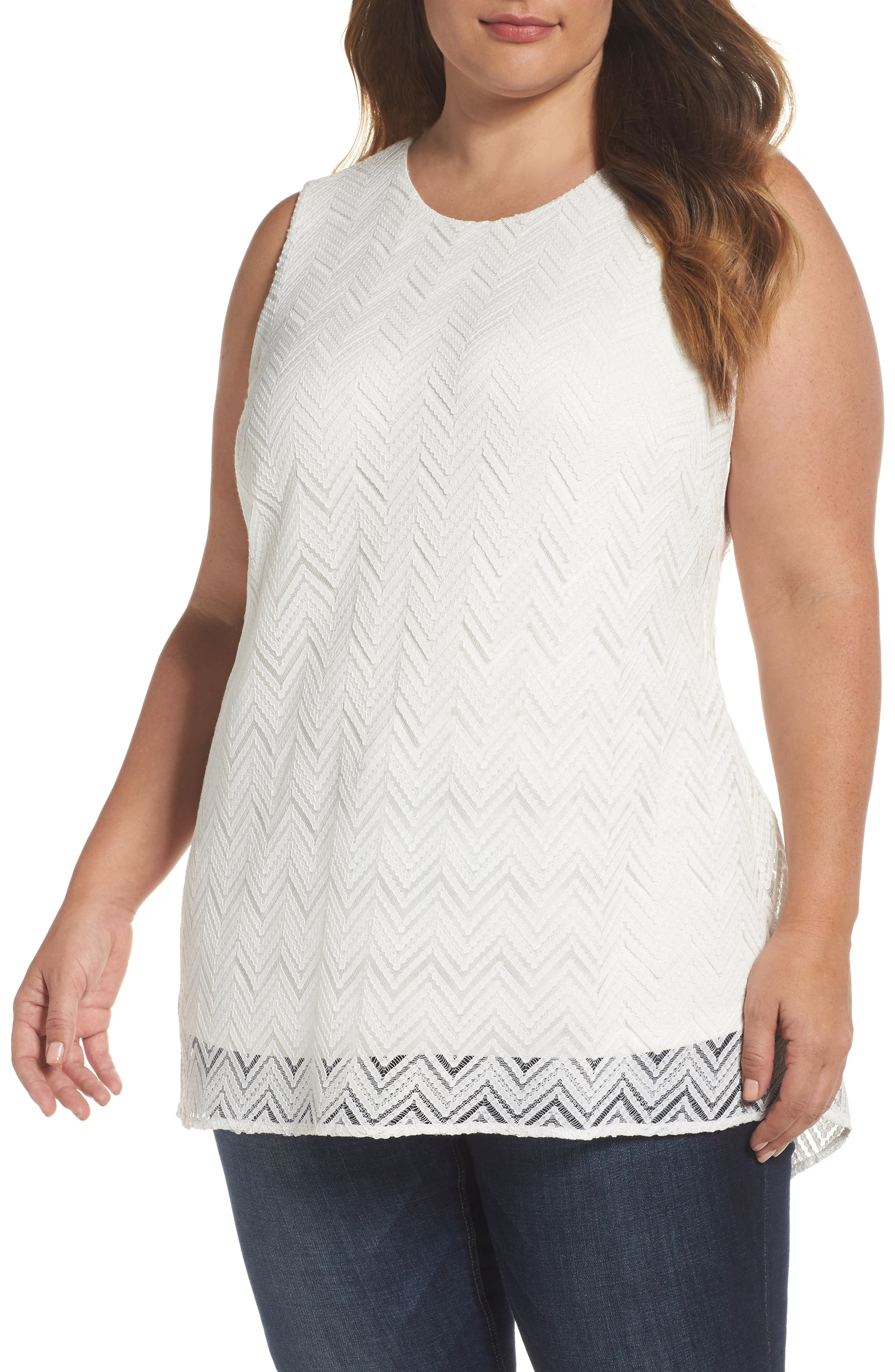 Vince Camuto Herringbone Lace Blouse (Plus Size)