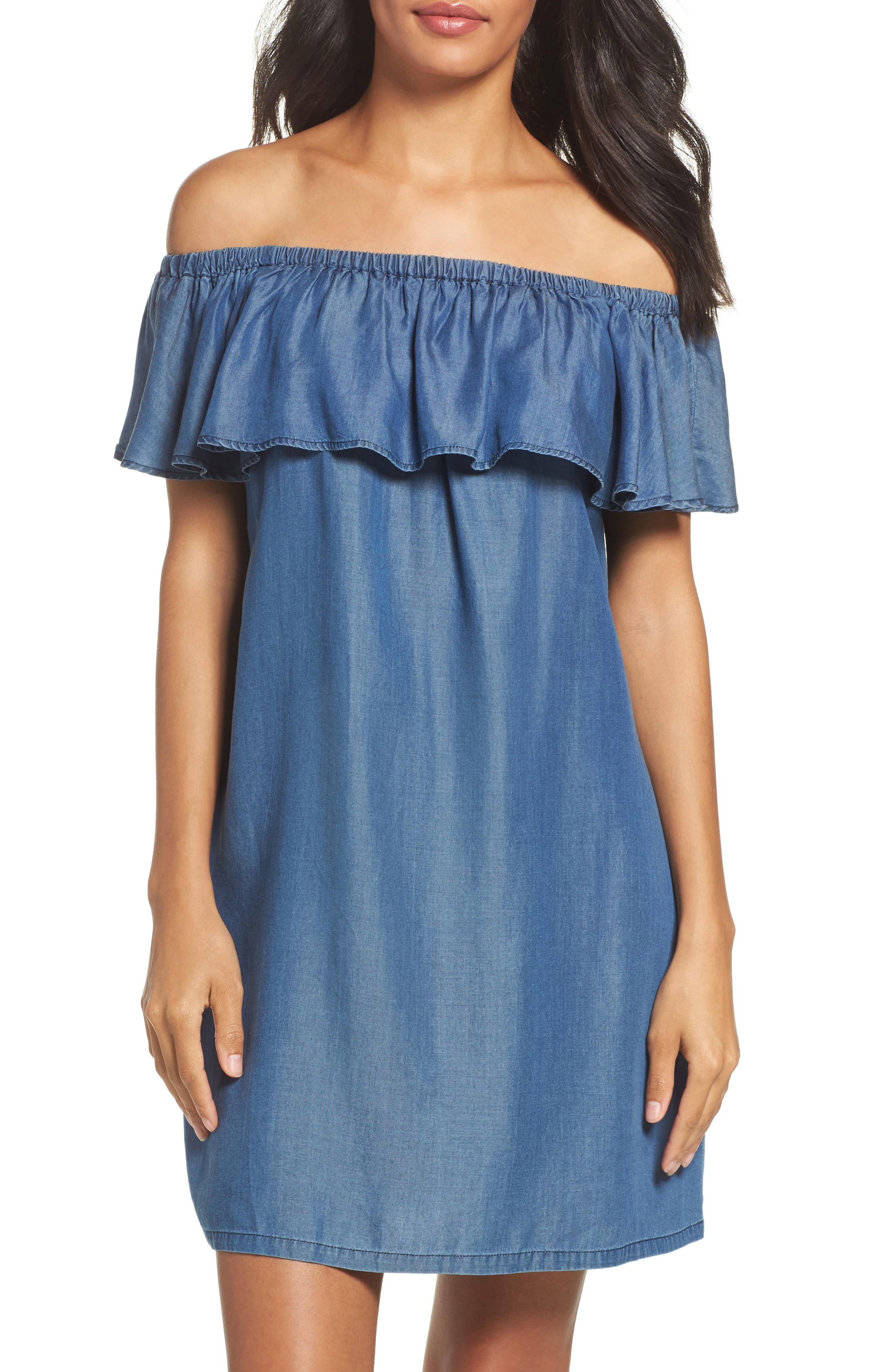 Tommy Bahama Off the Shoulder Chambray Cover-Up Dress