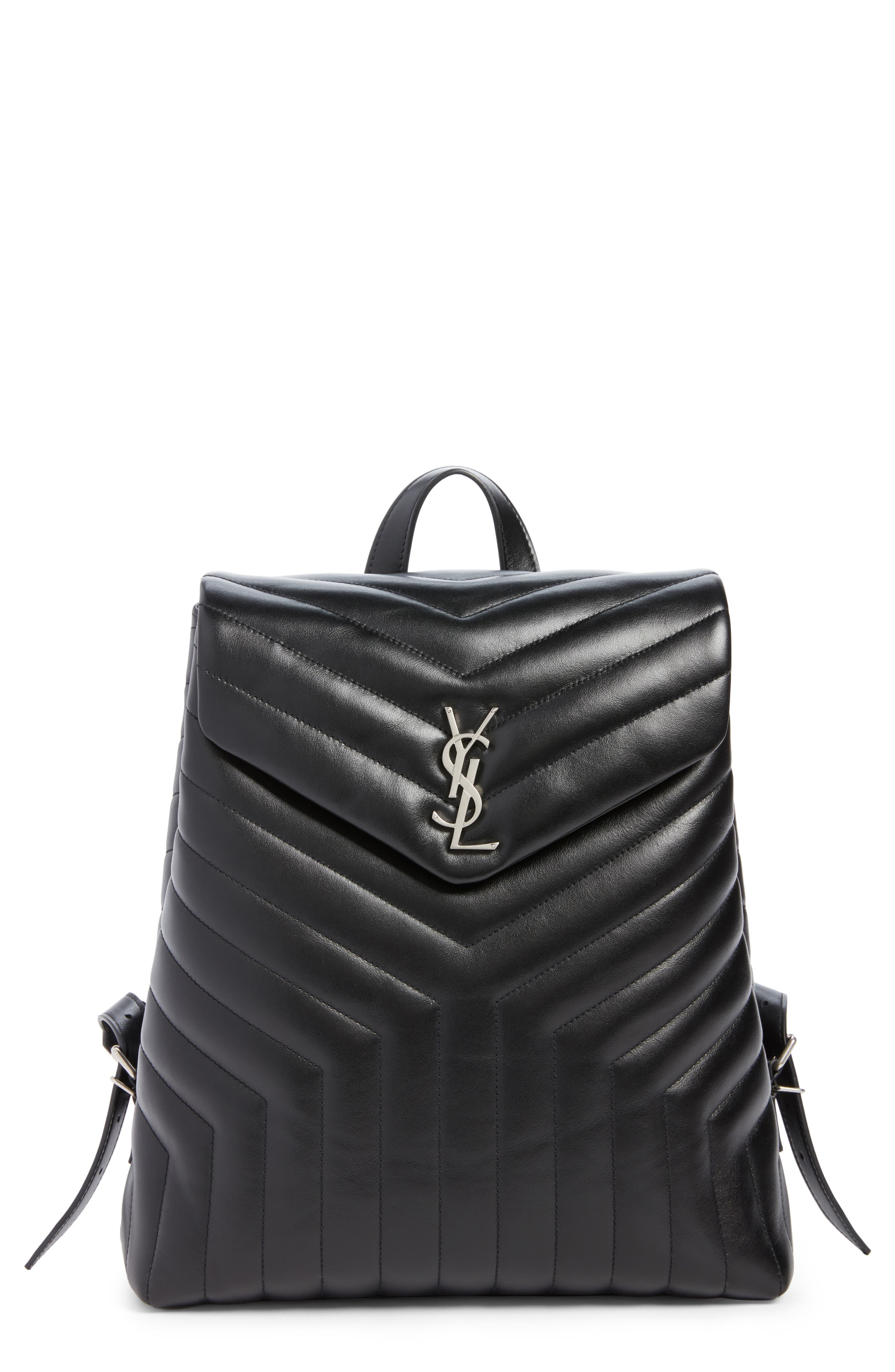Medium Loulou Calfskin Leather Backpack,                             Main thumbnail 1, color,                             Black