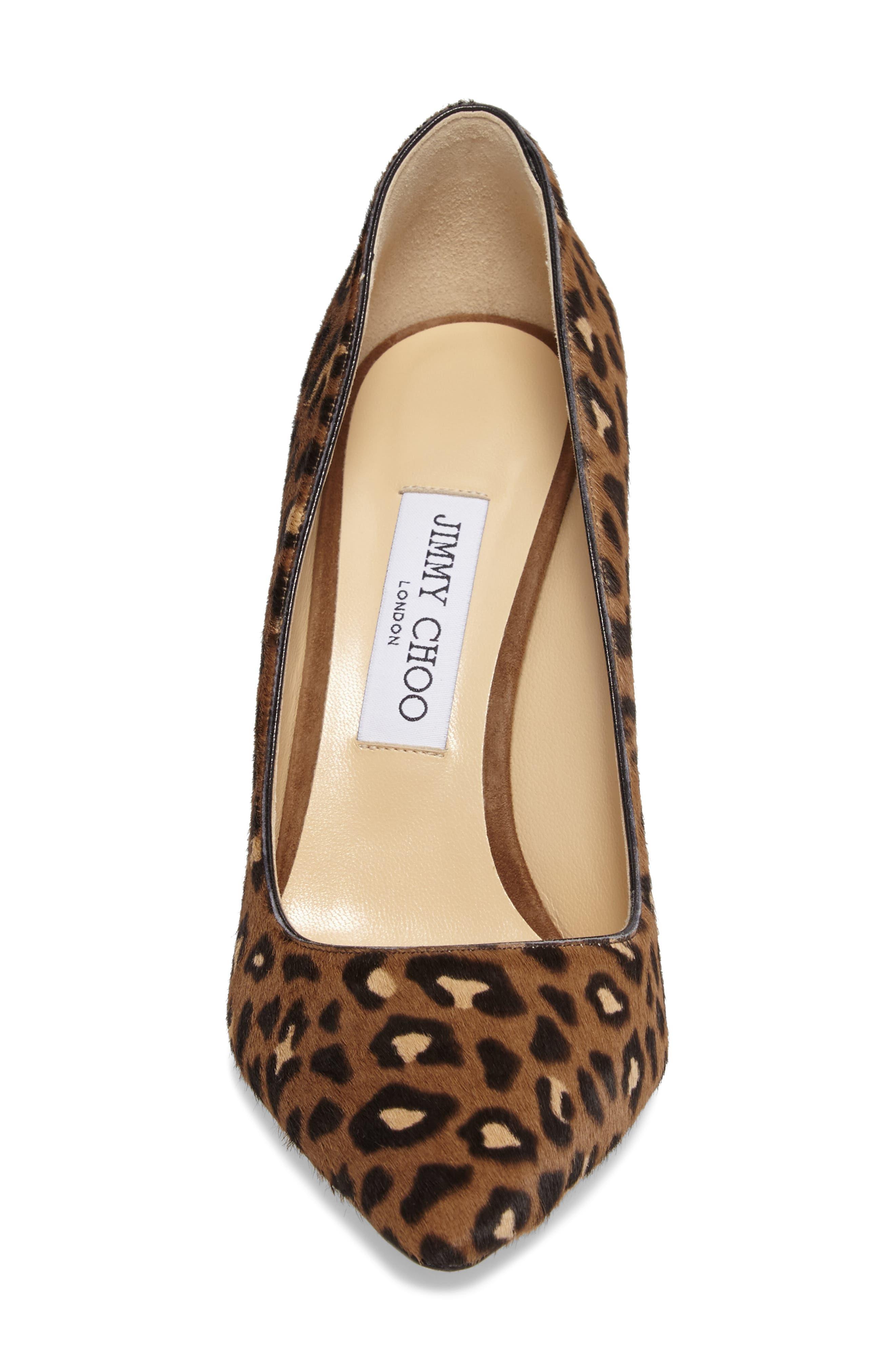 Romy Genuine Calf Hair Pointy Toe Pump,                             Alternate thumbnail 4, color,                             Leopard