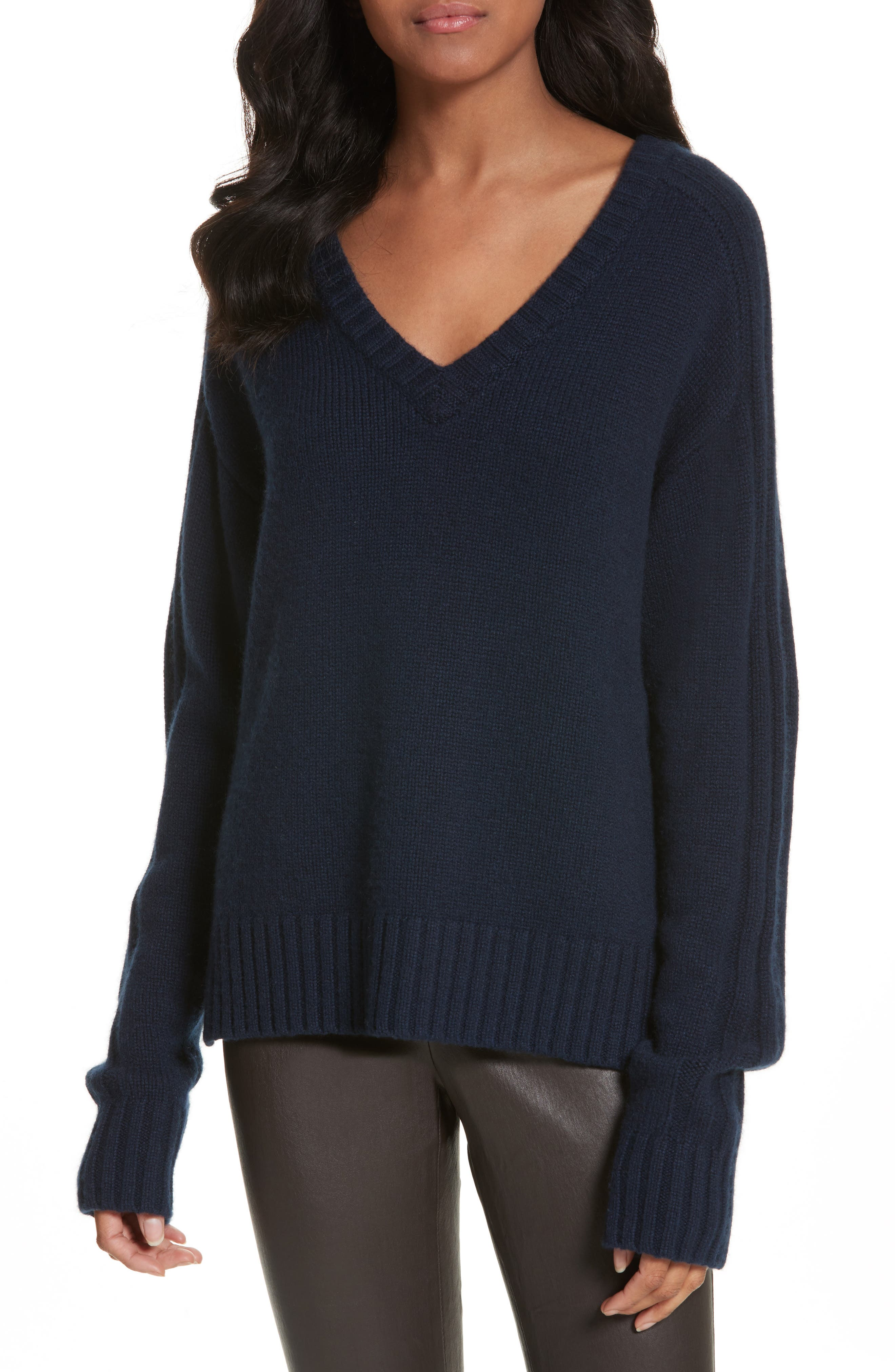 Luxe Cashmere V-Neck Sweater,                             Main thumbnail 1, color,                             Navy