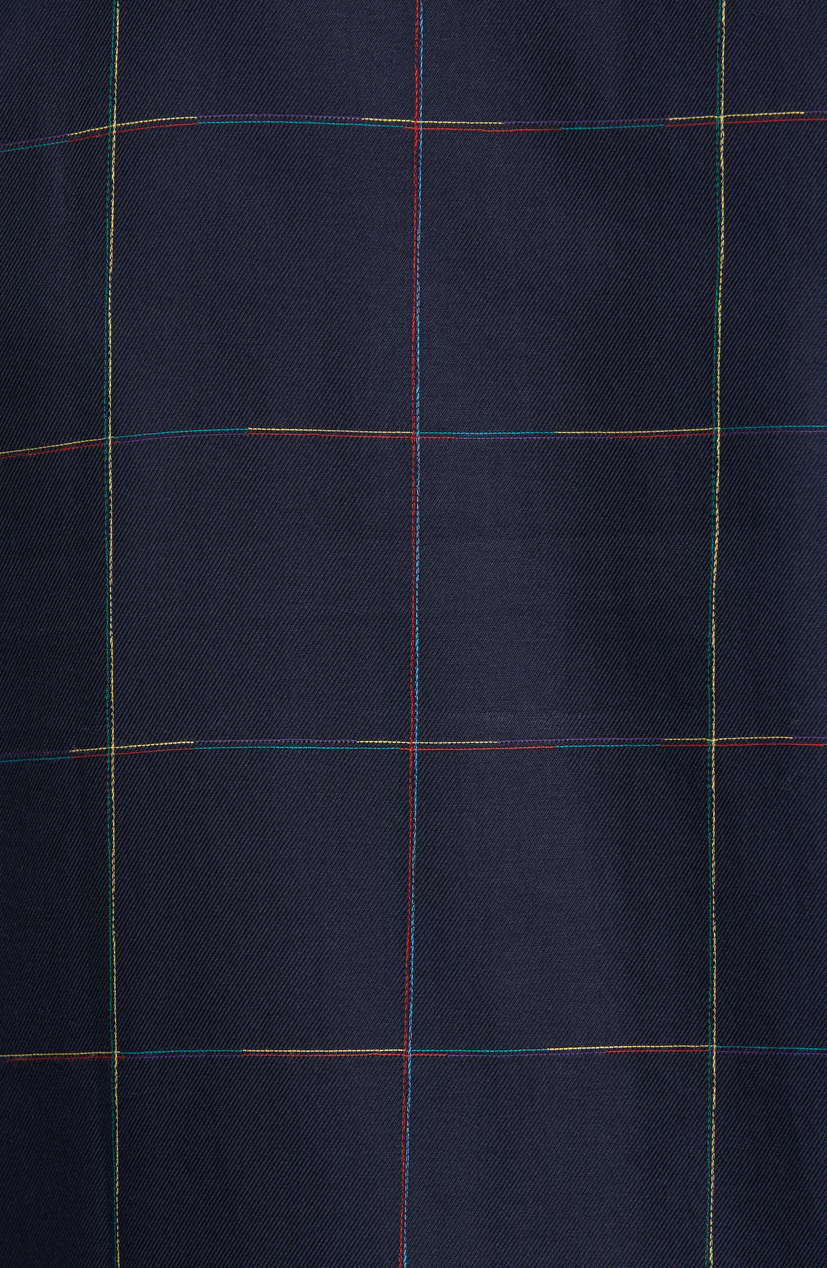 Rainbow Embroidered Windowpane Sport Shirt,                             Alternate thumbnail 5, color,                             Blue