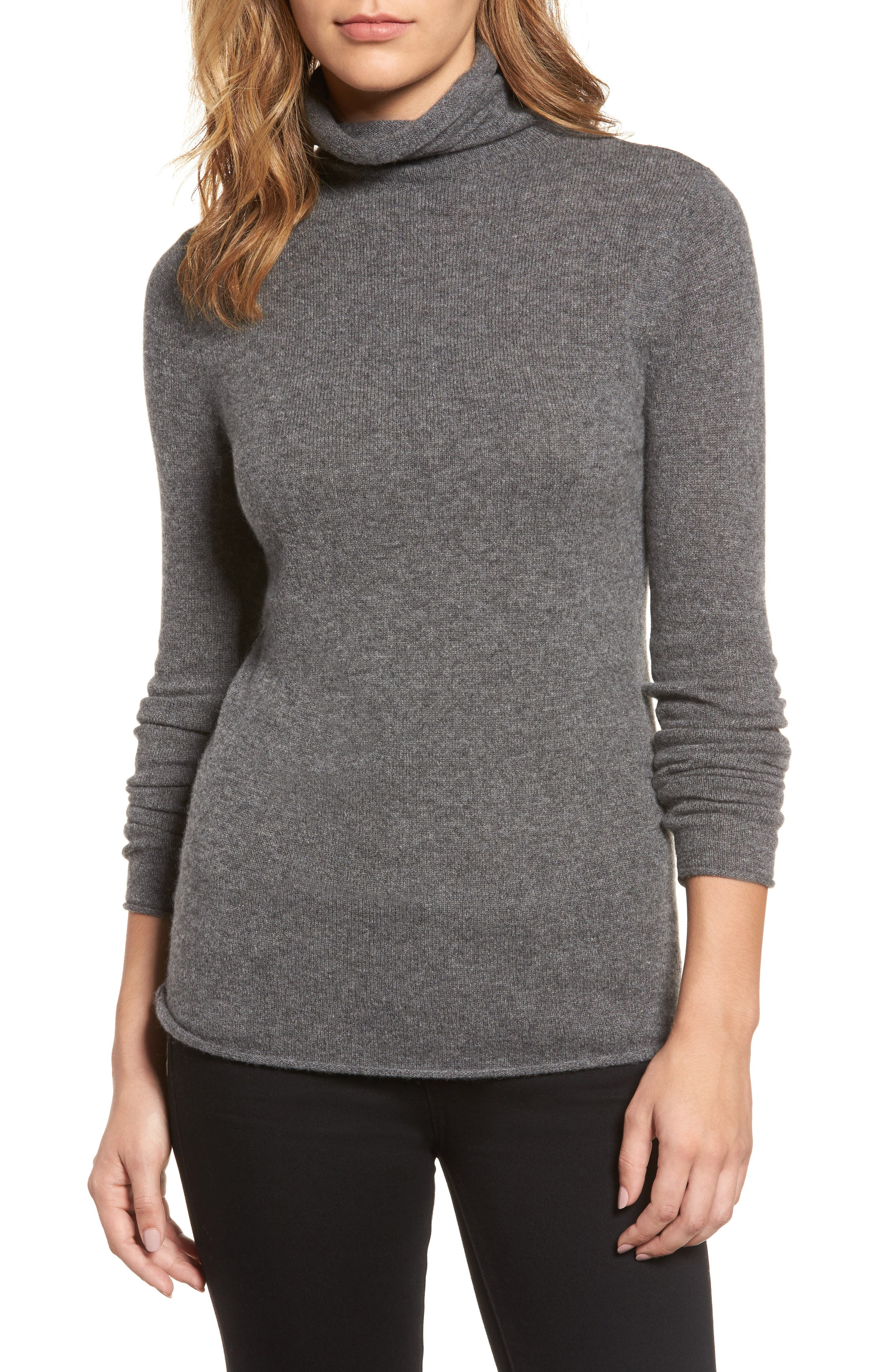 Halogen® Funnel Neck Cashmere Sweater (Regular & Petite)
