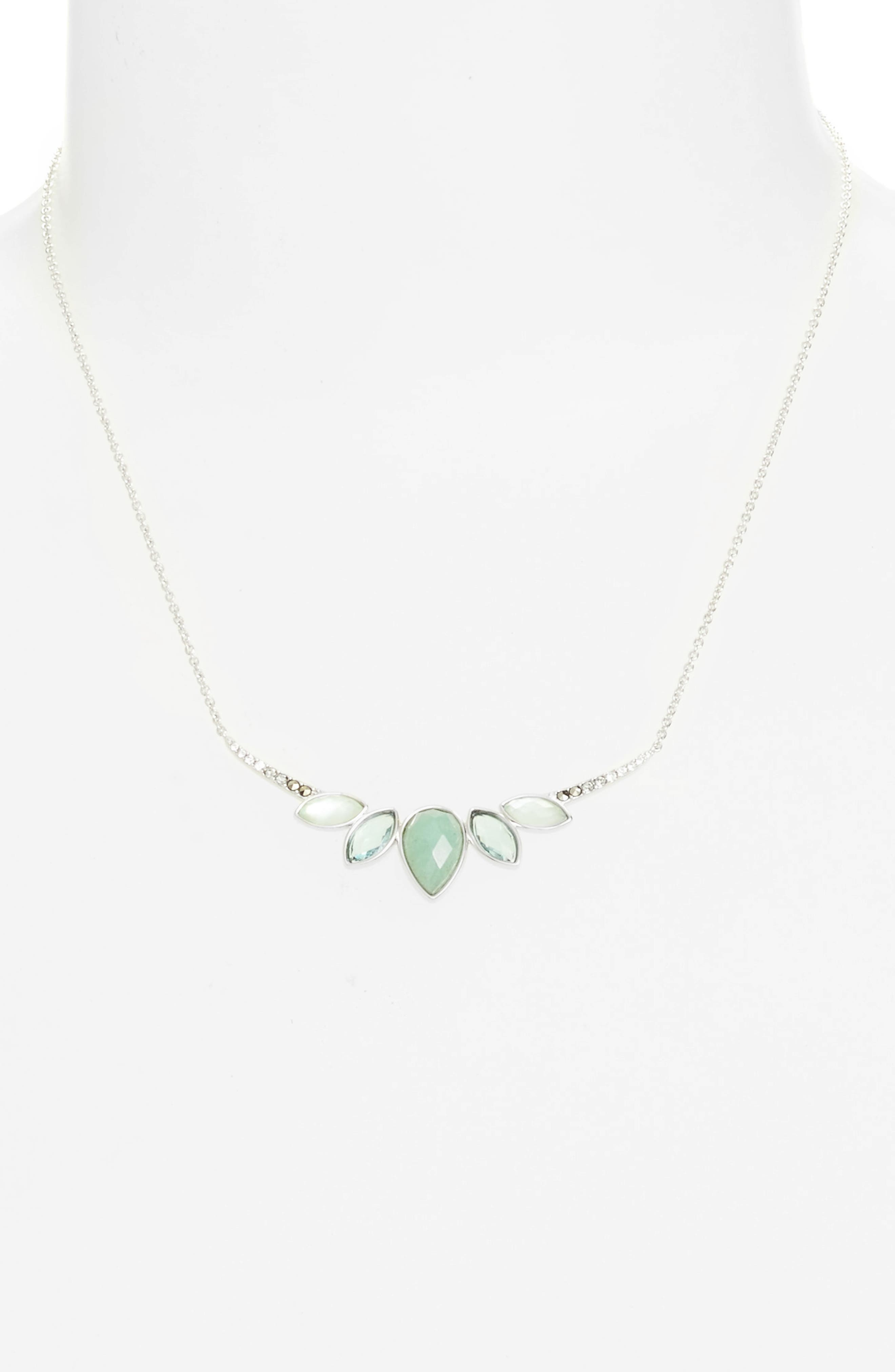 Lakeside Crystal Frontal Necklace,                             Alternate thumbnail 2, color,                             Green/ Black Diamond