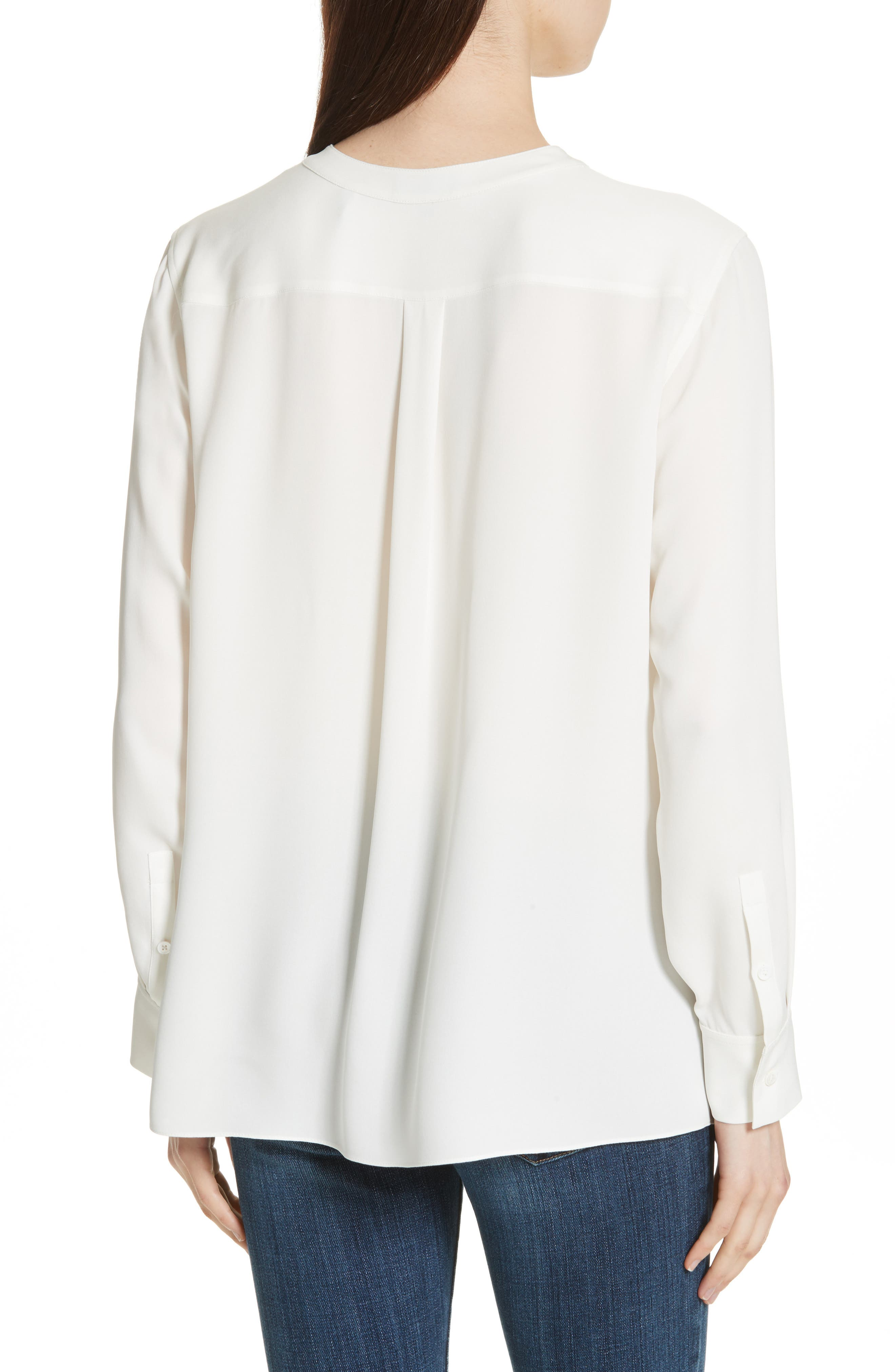 Isalva Classic Georgette Silk Blouse,                             Alternate thumbnail 2, color,                             Ivory