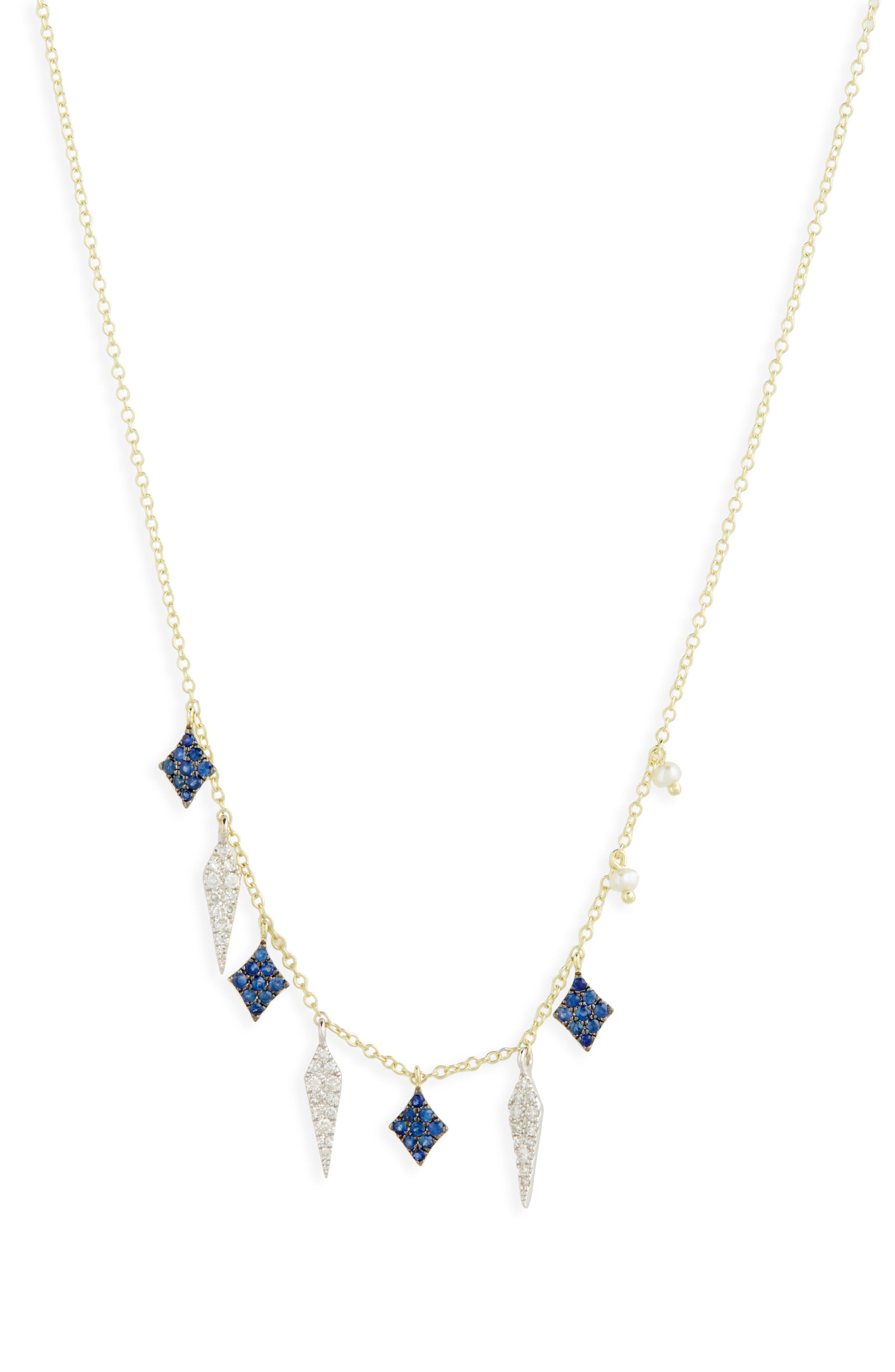 Miera T Diamond & Sapphire Charm Necklace,                             Alternate thumbnail 2, color,                             Yellow Gold
