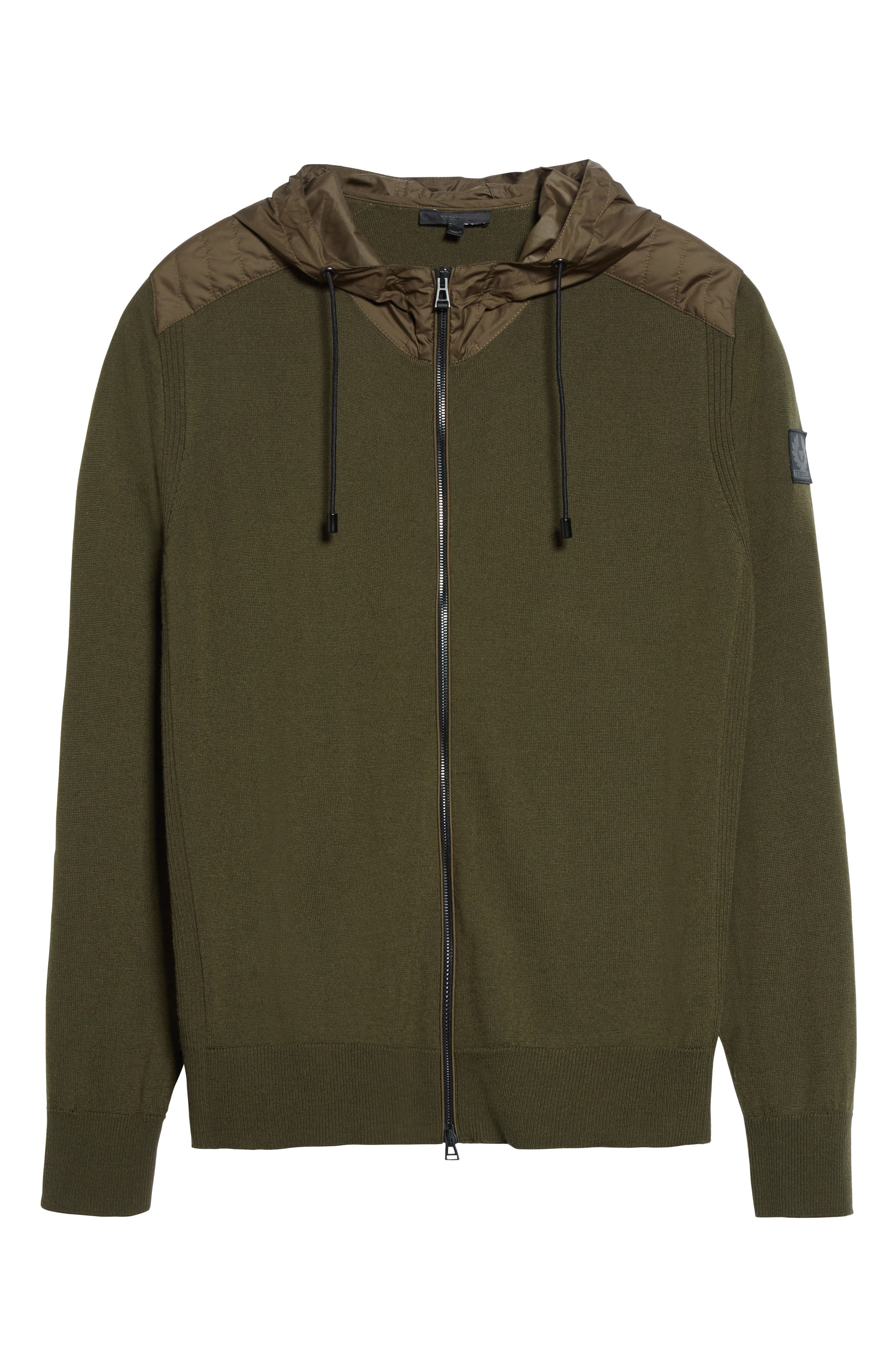 Aldington Mixed Media Full Zip Hoodie,                             Alternate thumbnail 6, color,                             Pale Military Green