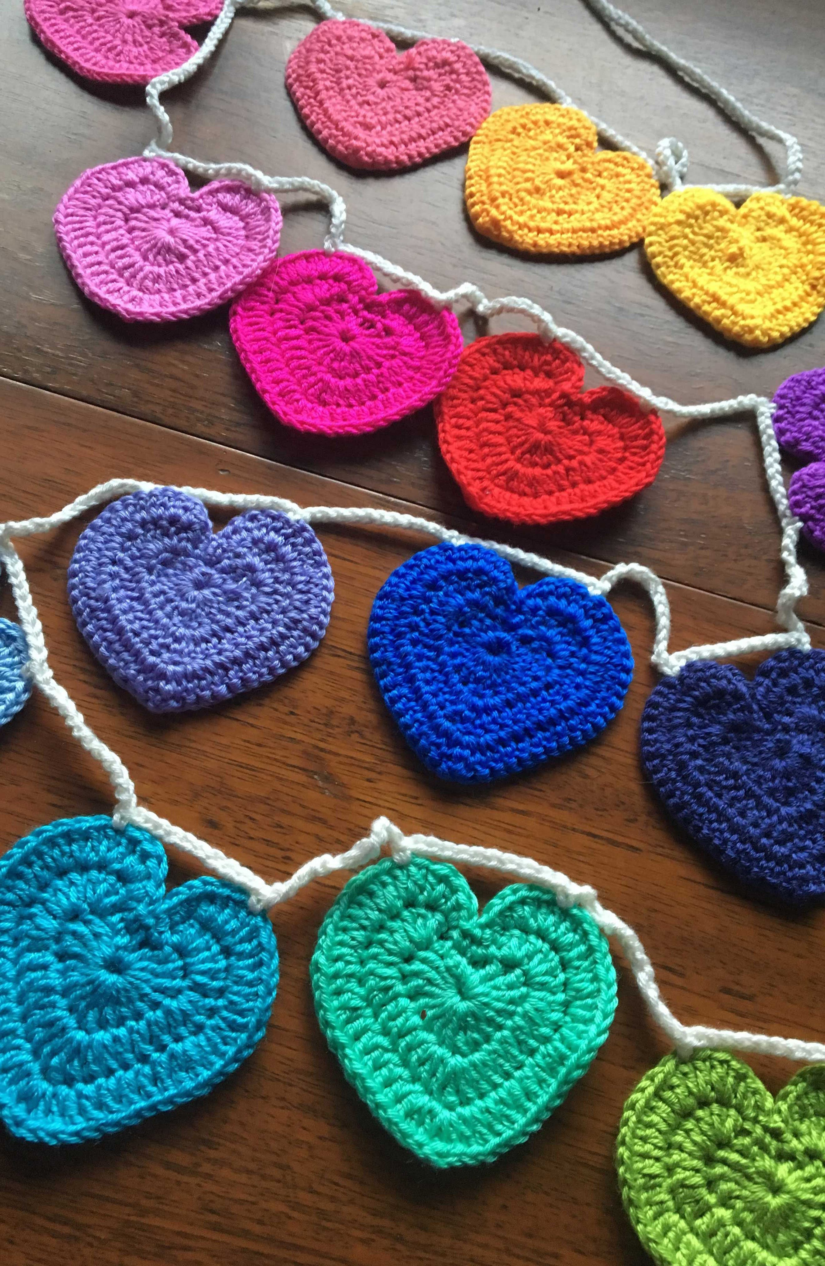 Crocheted Heart Bunting,                             Alternate thumbnail 4, color,                             Rainbow