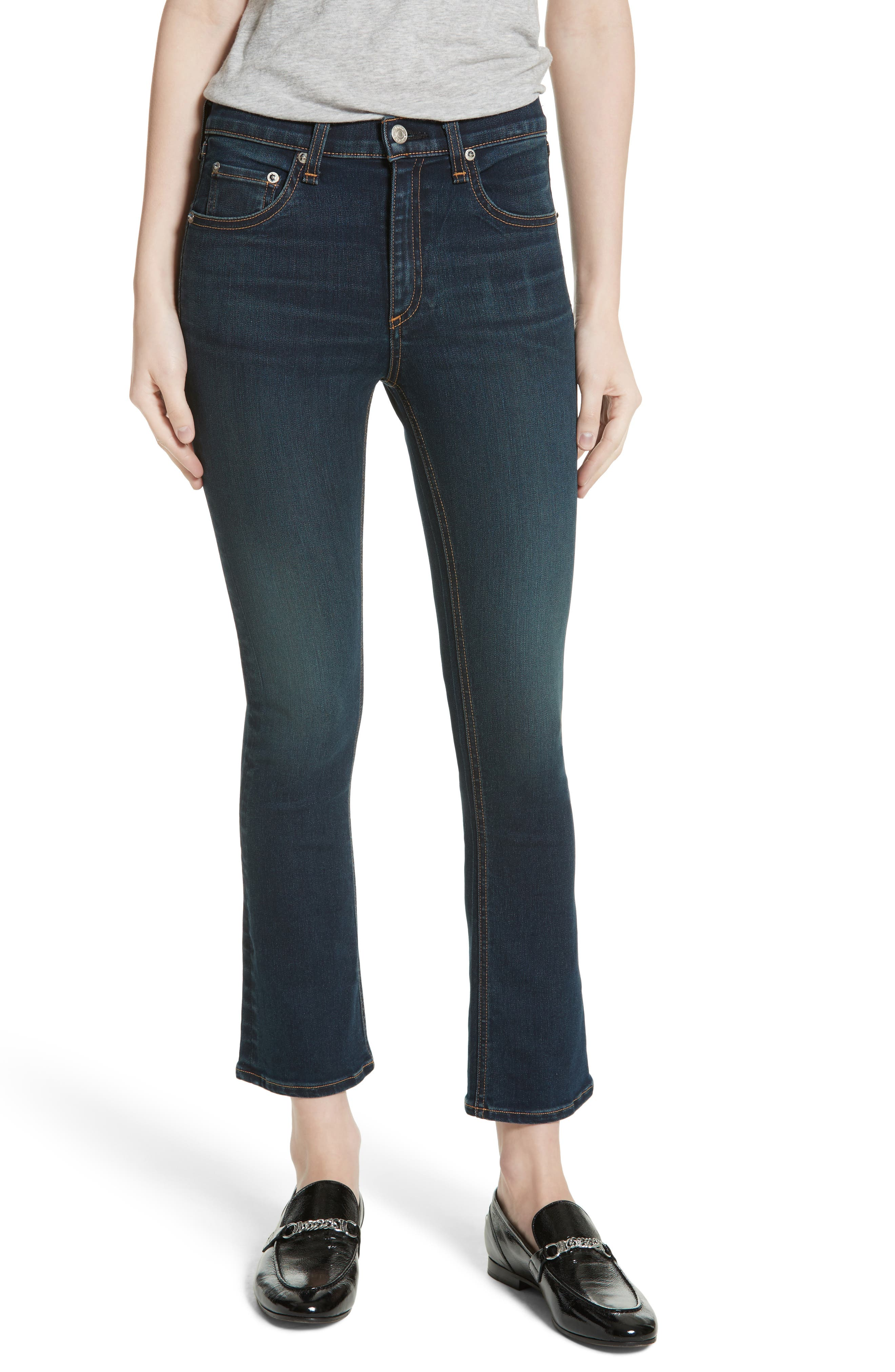 Alternate Image 1 Selected - rag & bone/JEAN Hana High Waist Crop Flare Jeans (Bedford)