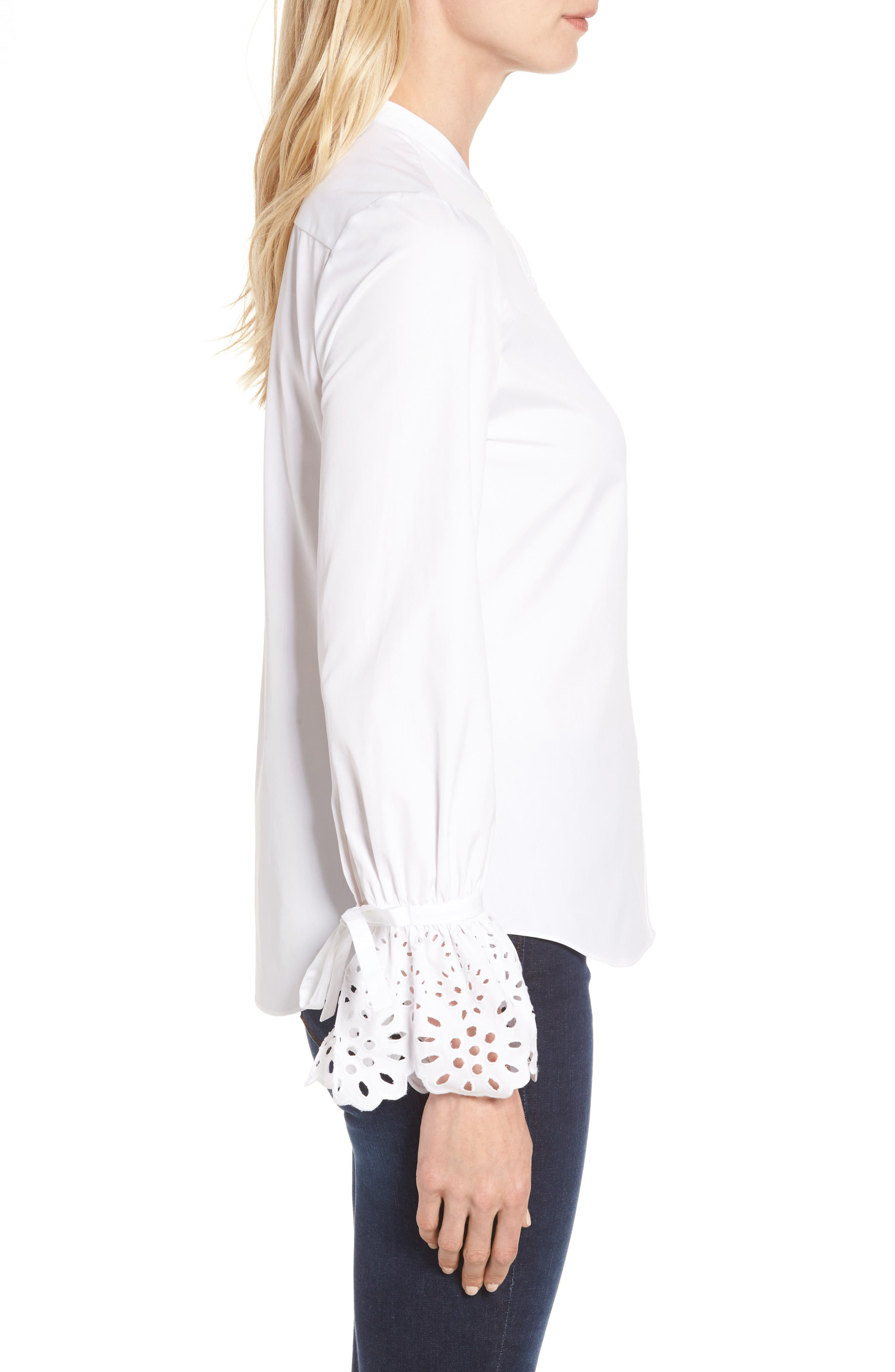 Alternate Image 3  - Nordstrom Signature Eyelet Cuff Poplin Blouse