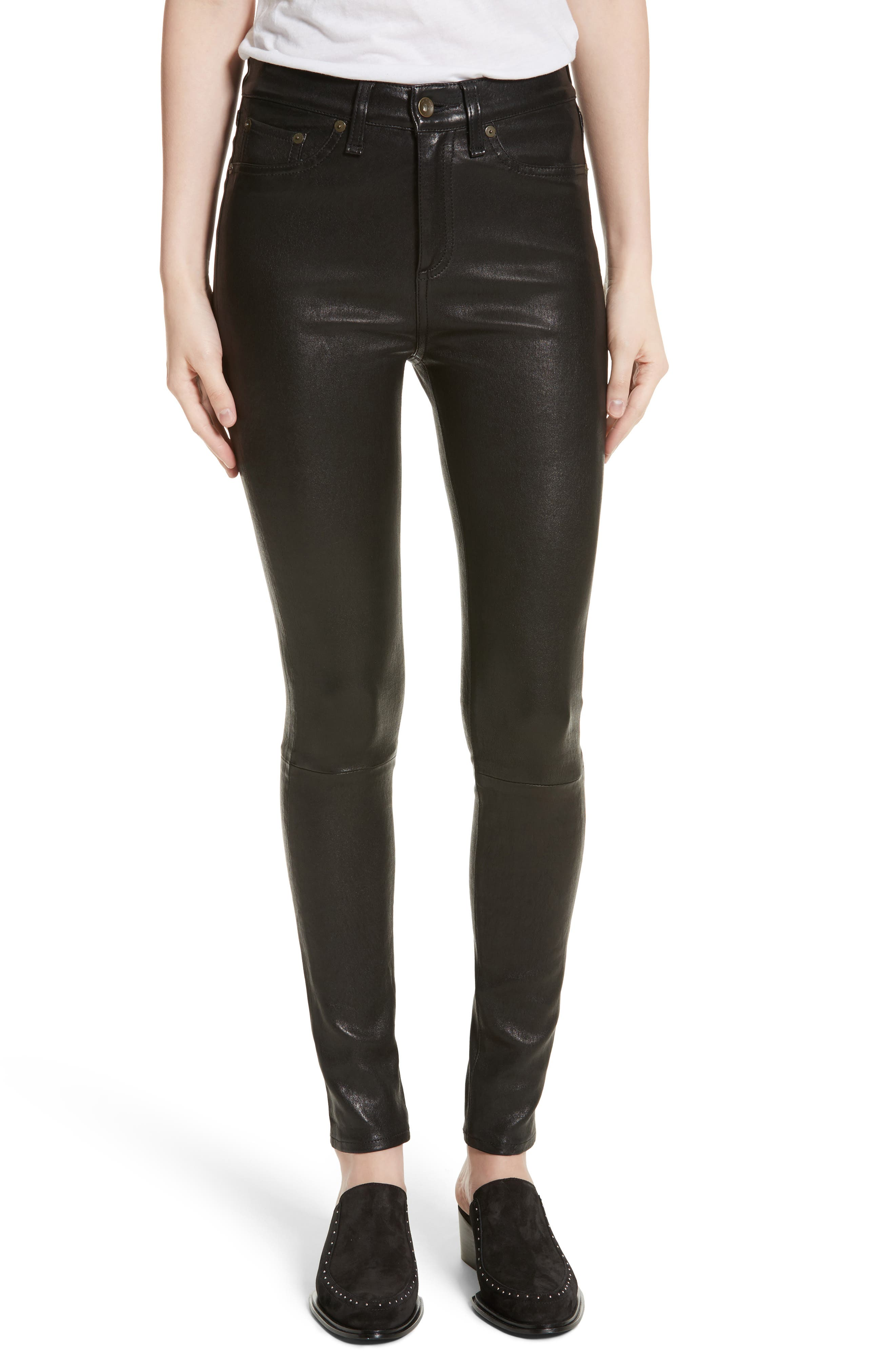 Lambskin Leather Pants,                         Main,                         color, Black Leather