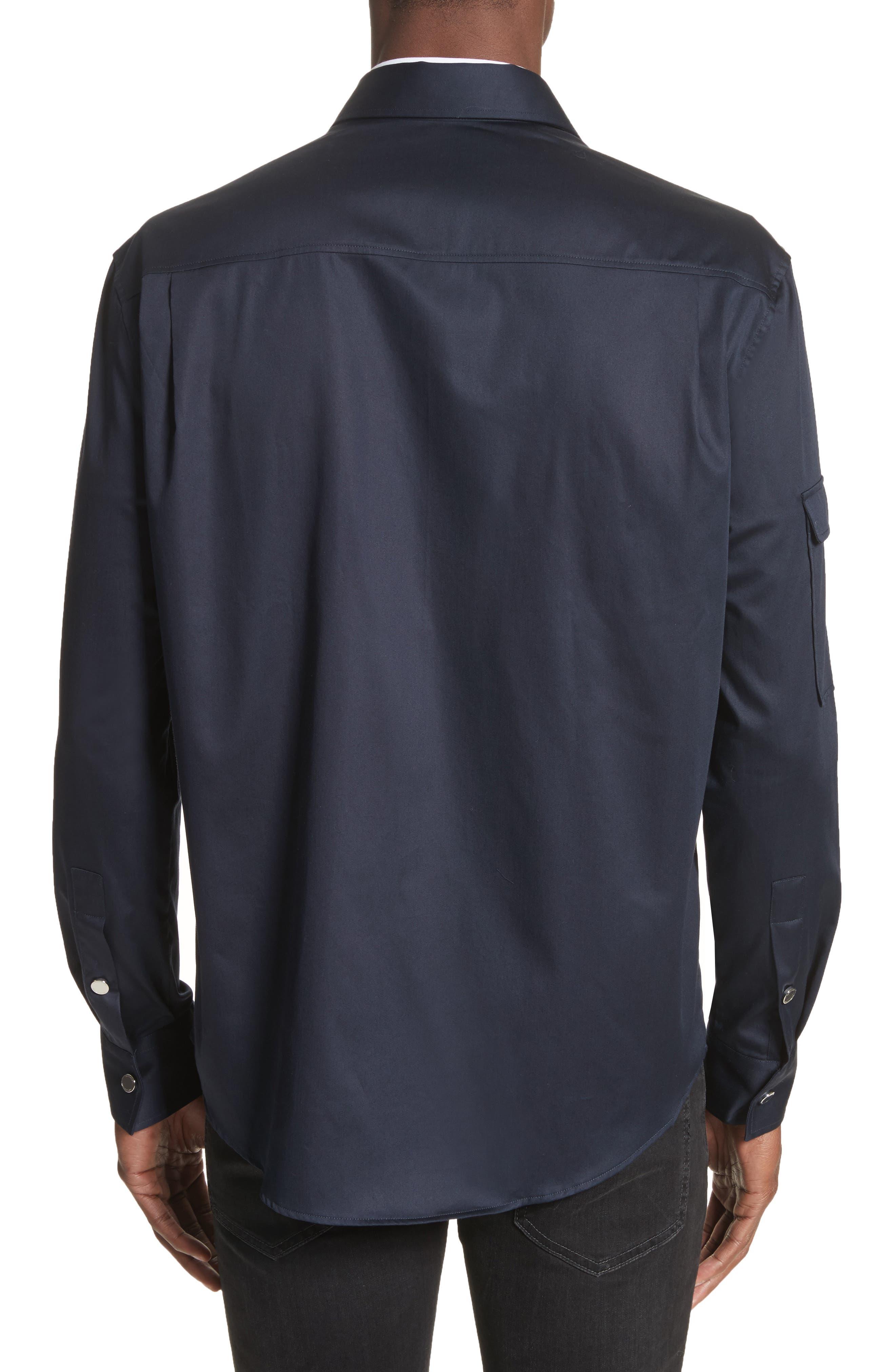 Zip Front Stretch Cotton Shirt,                             Alternate thumbnail 2, color,                             Navy