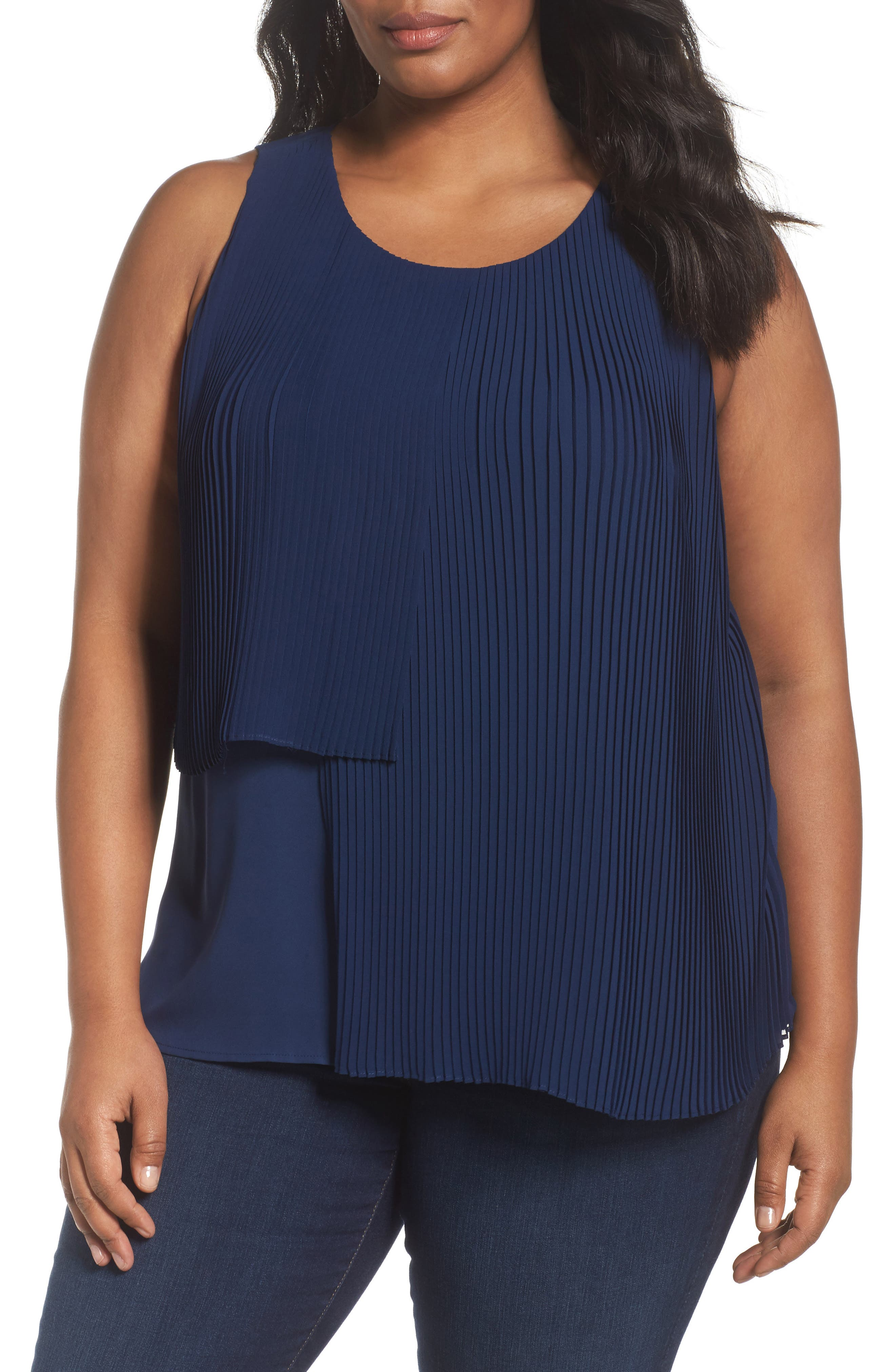 Asymmetrical Pleat Front Shell,                             Main thumbnail 1, color,                             Navy Medieval