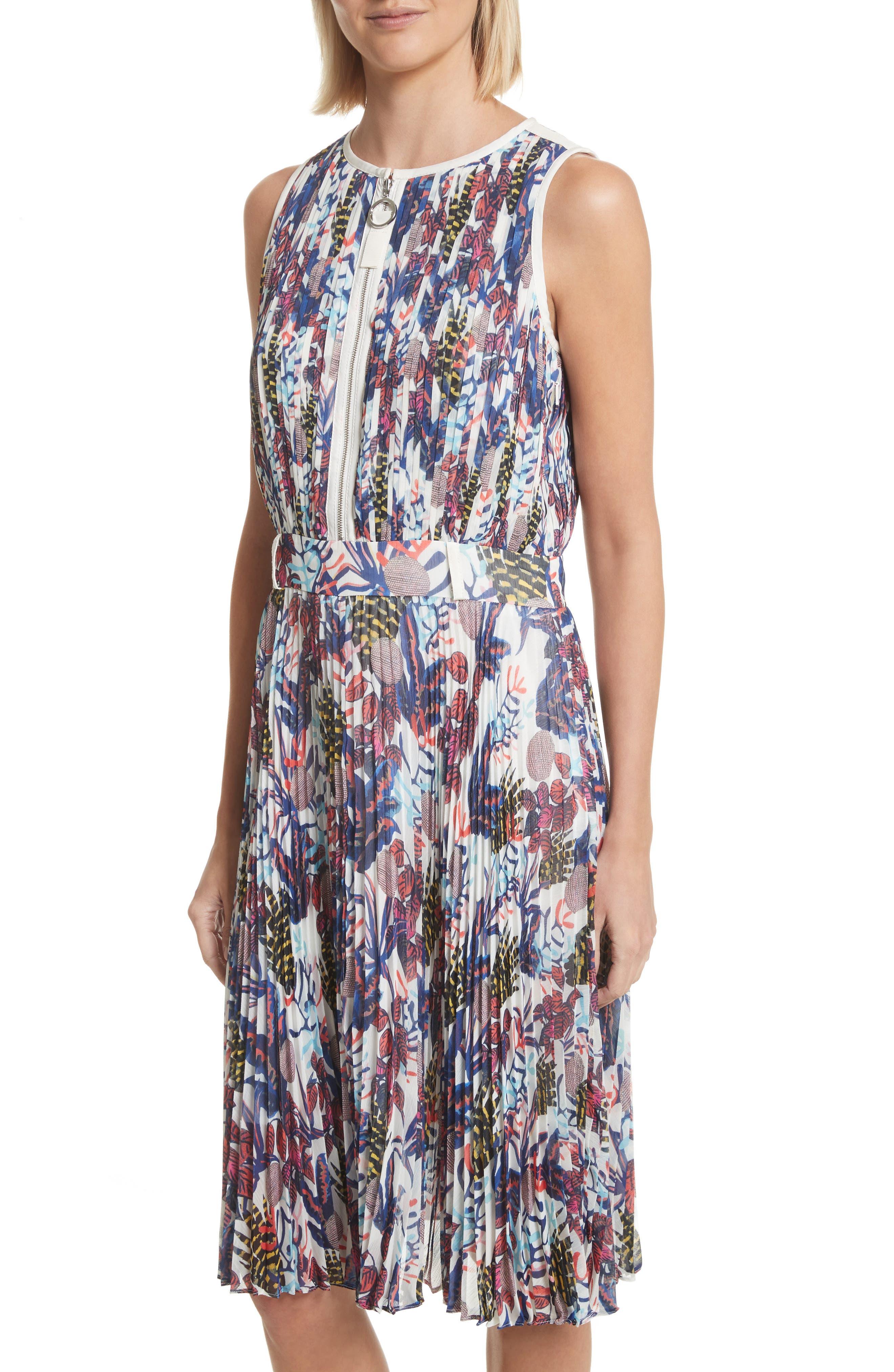 Print Pleated Chiffon Dress,                             Alternate thumbnail 4, color,                             Cream Multi