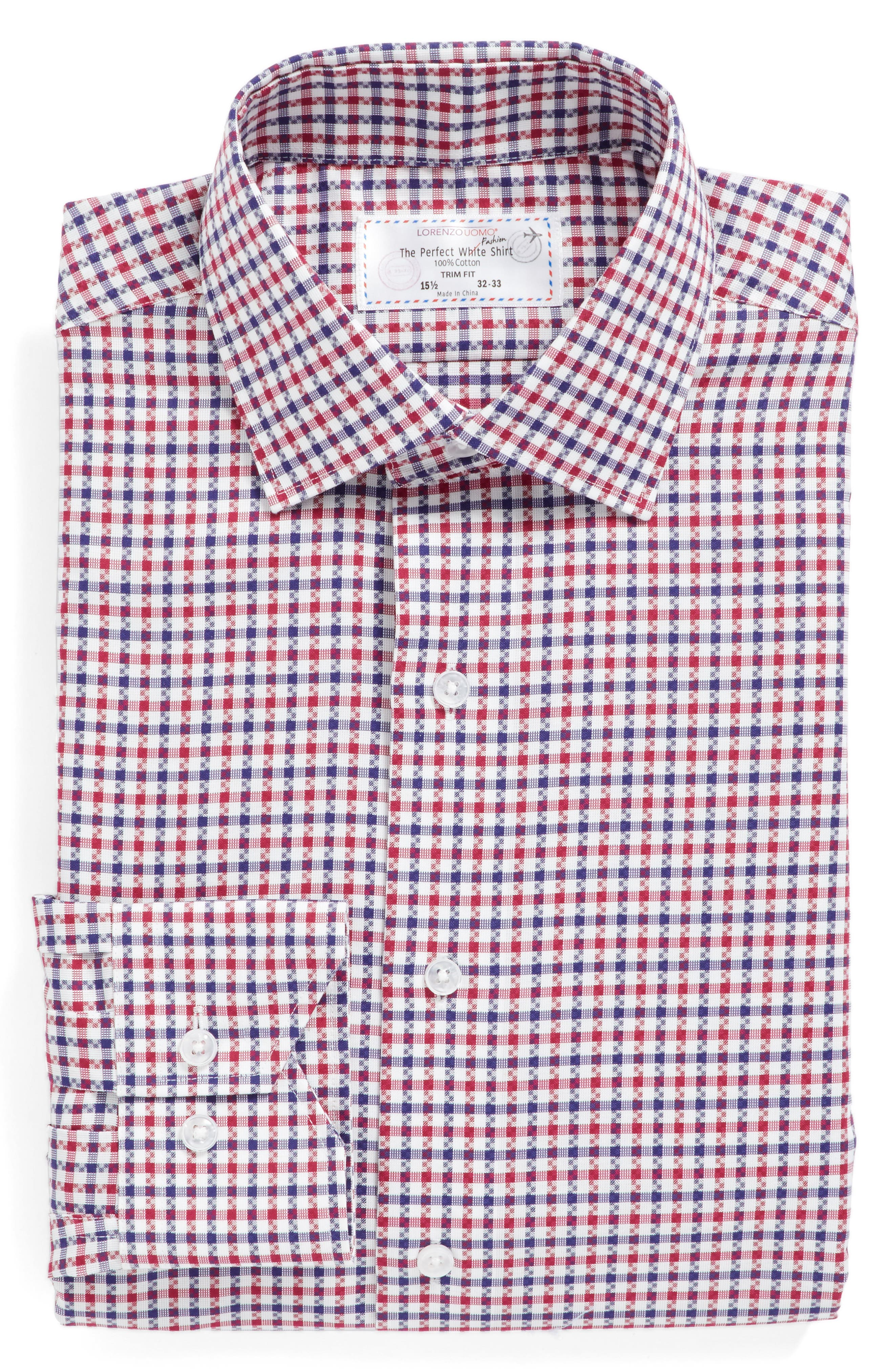 Trim Fit Check Dress Shirt,                             Alternate thumbnail 4, color,                             Red/ Navy