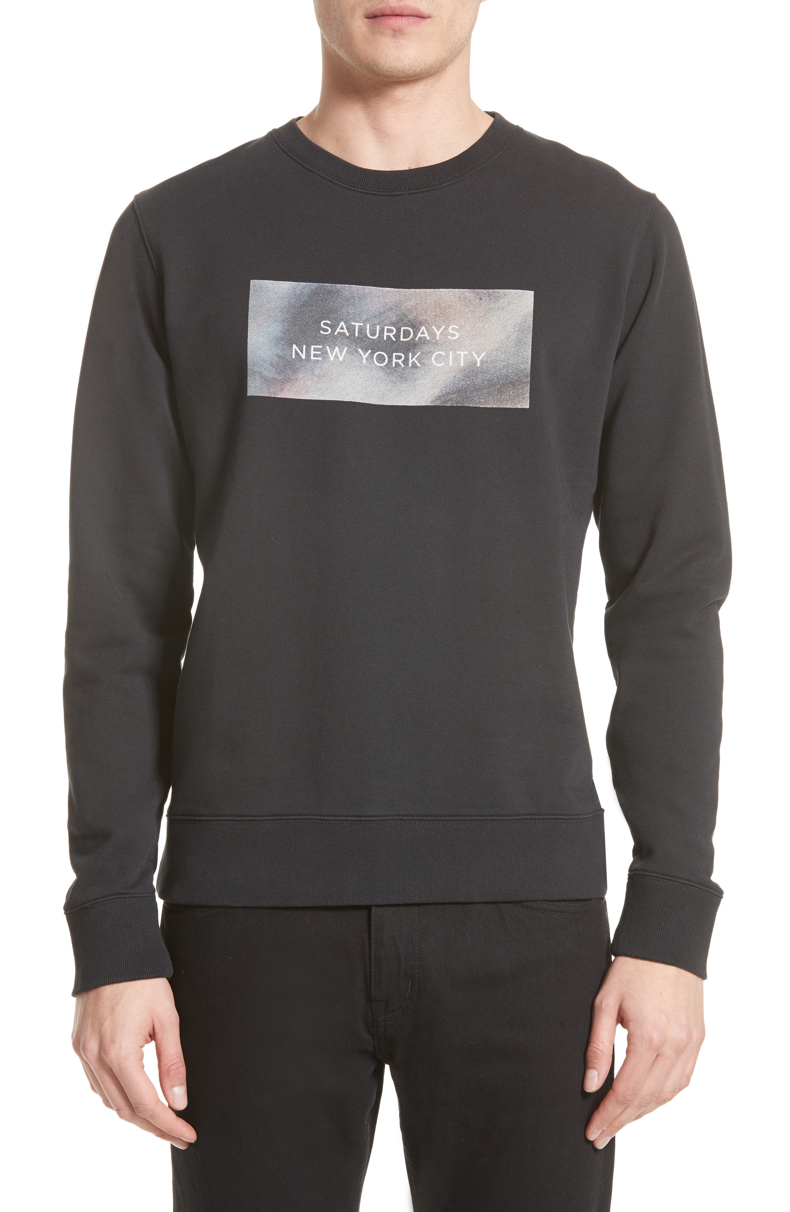 Main Image - Saturdays NYC Bowery Logo Graphic Sweatshirt
