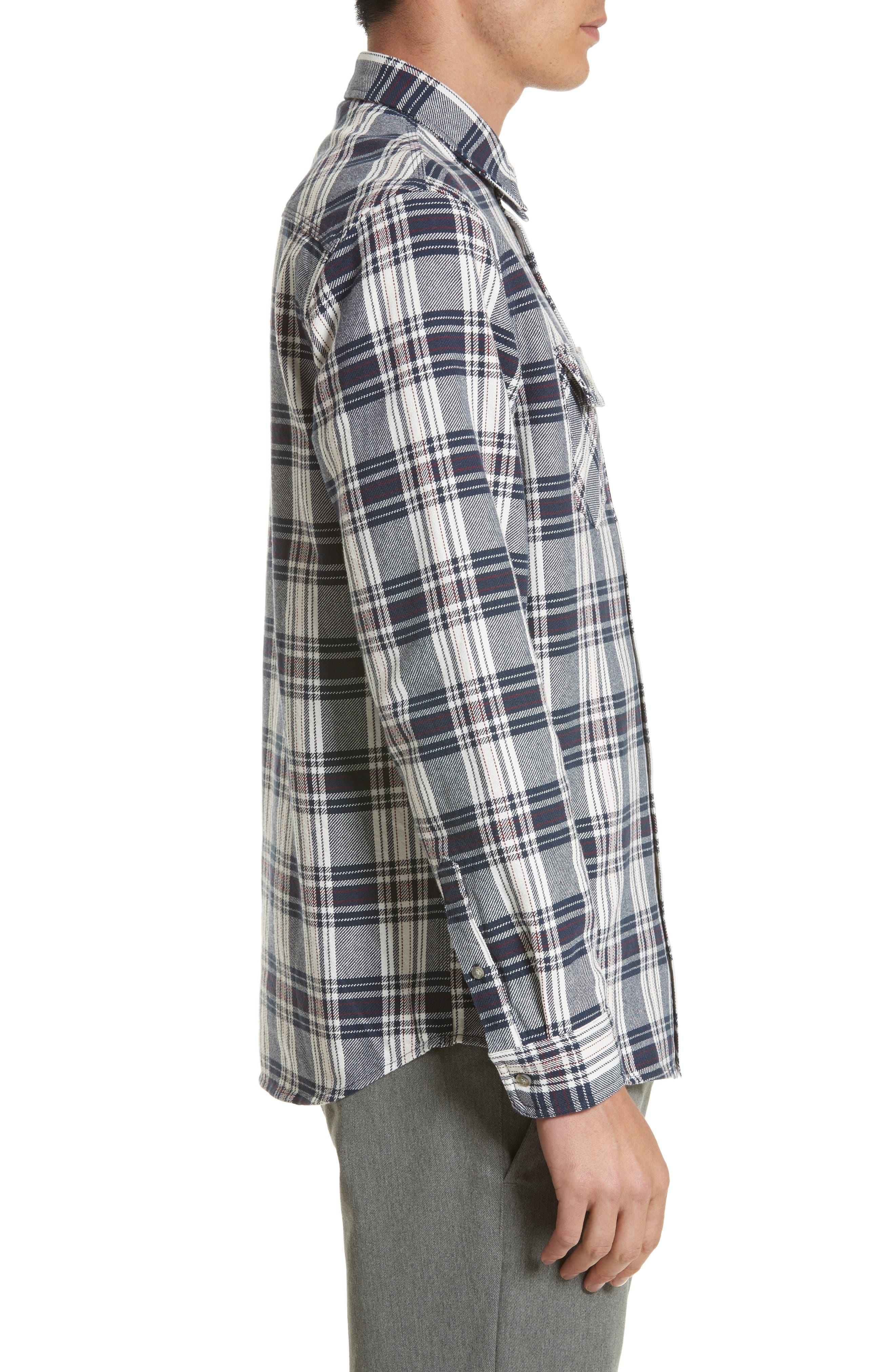 Twill Flannel Shirt,                             Alternate thumbnail 4, color,                             Snow/ Blue