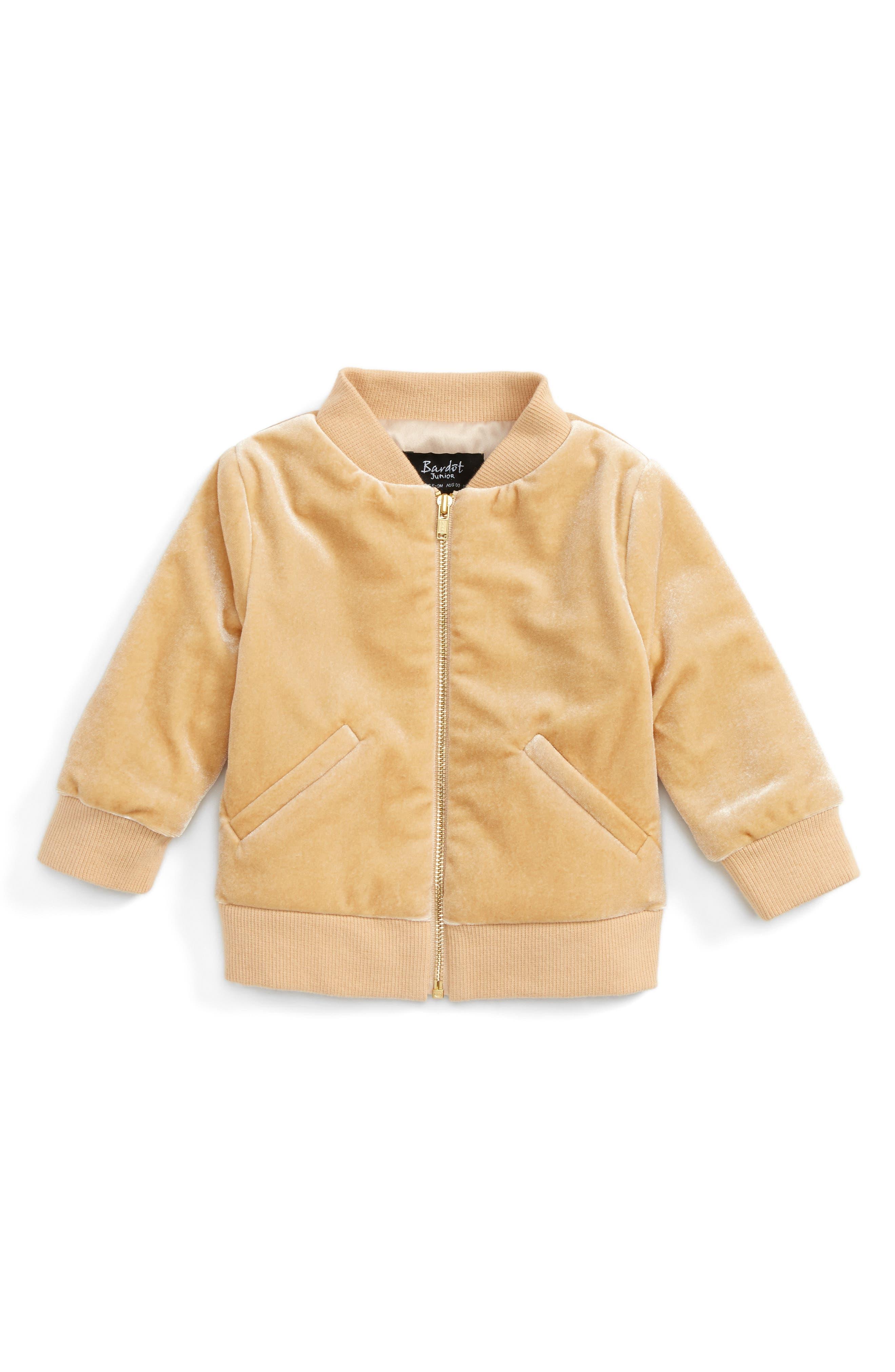 Bardot Junior Embroidered Velvet Bomber Jacket (Baby Girls & Toddler Girls)