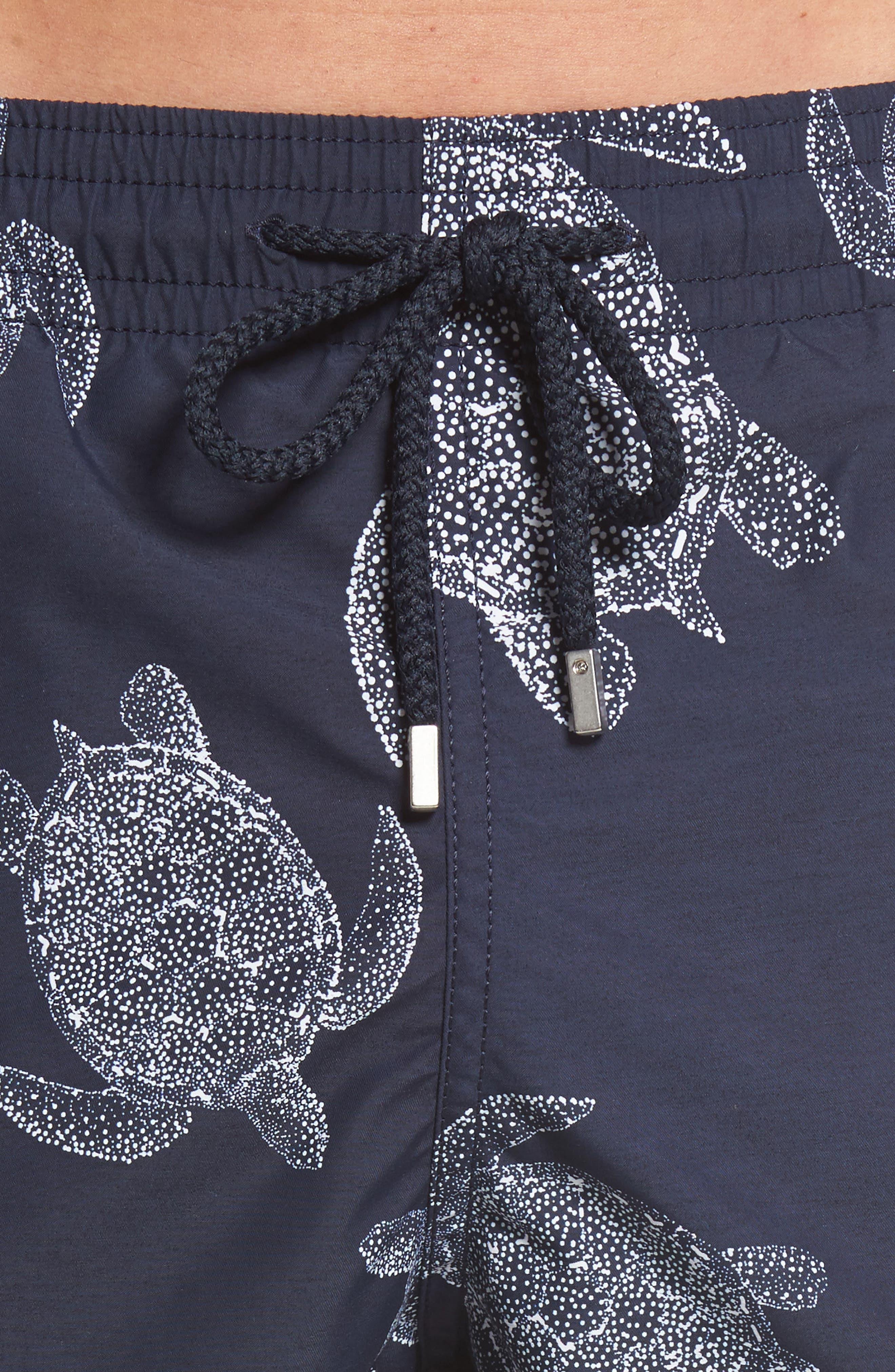 Moorea Sharkskin Turtles Print Swim Trunks,                             Alternate thumbnail 4, color,                             Navy Blue