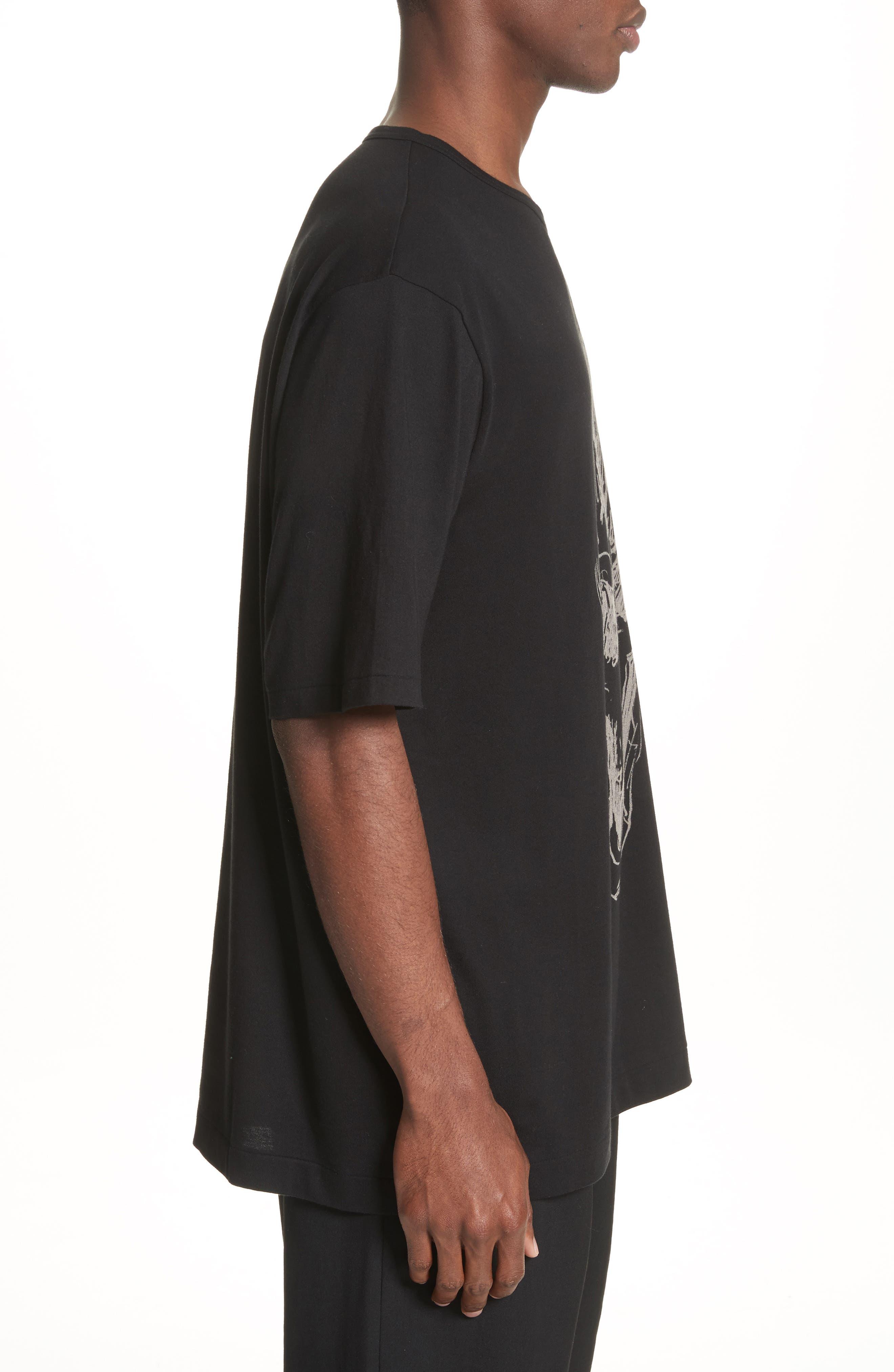 Oversize Skull Graphic T-Shirt,                             Alternate thumbnail 3, color,                             Black