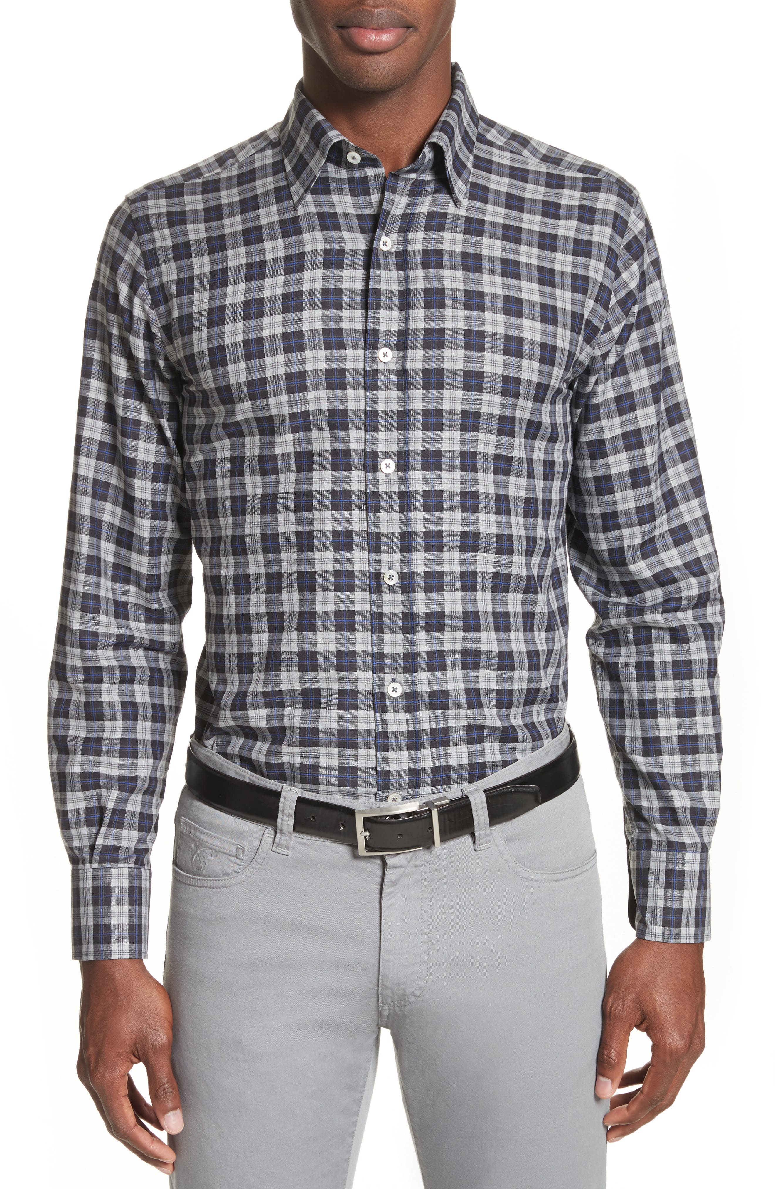 Main Image - Canali Plaid Sport Shirt
