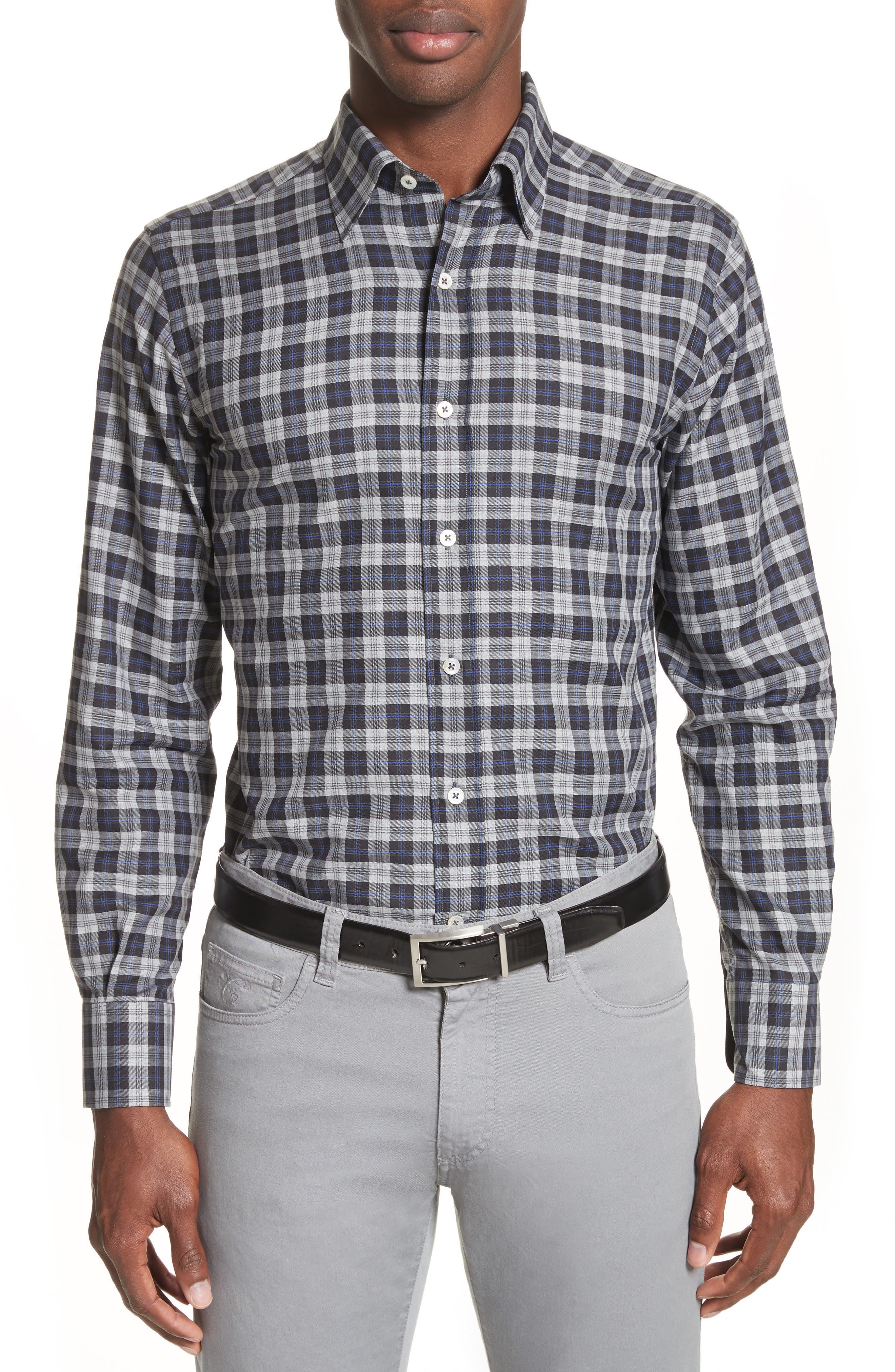 Plaid Sport Shirt,                         Main,                         color, Medium Grey
