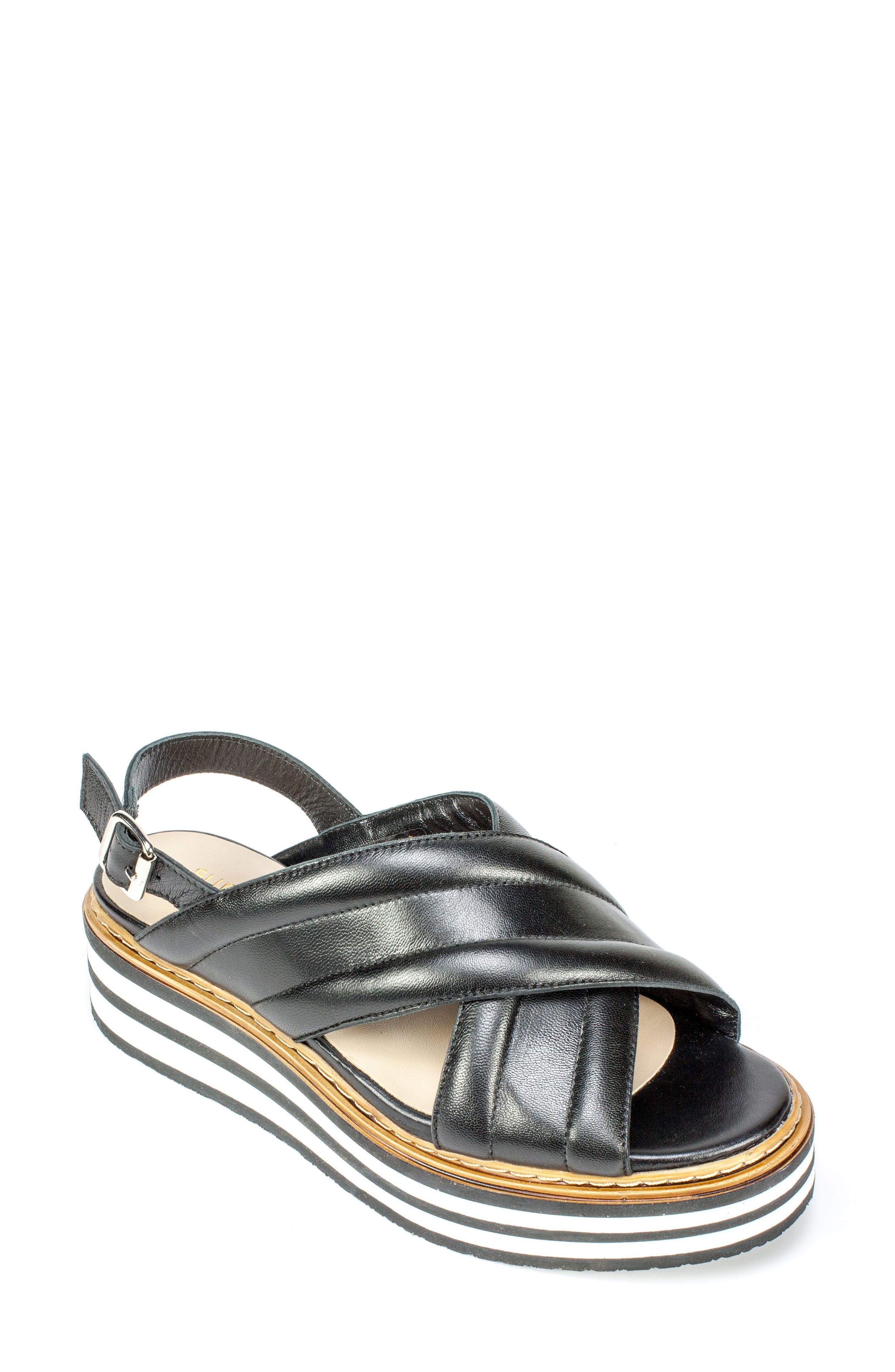 Leanna Platform Sandal,                         Main,                         color, Black Leather