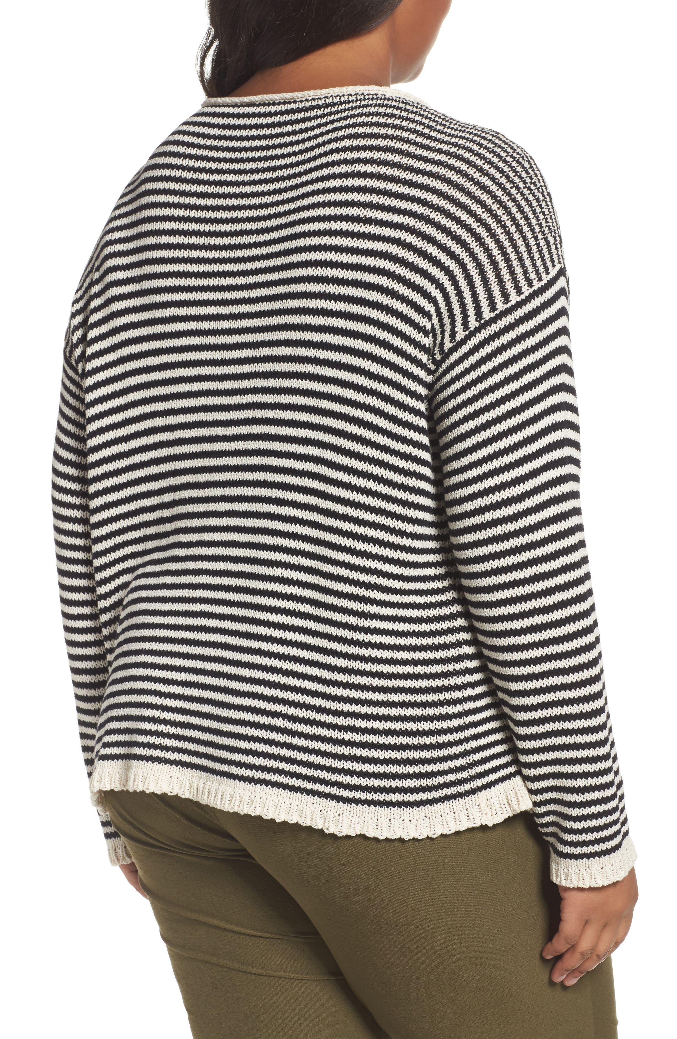 Stripe Cotton Blend Knit Top,                             Alternate thumbnail 2, color,                             Black