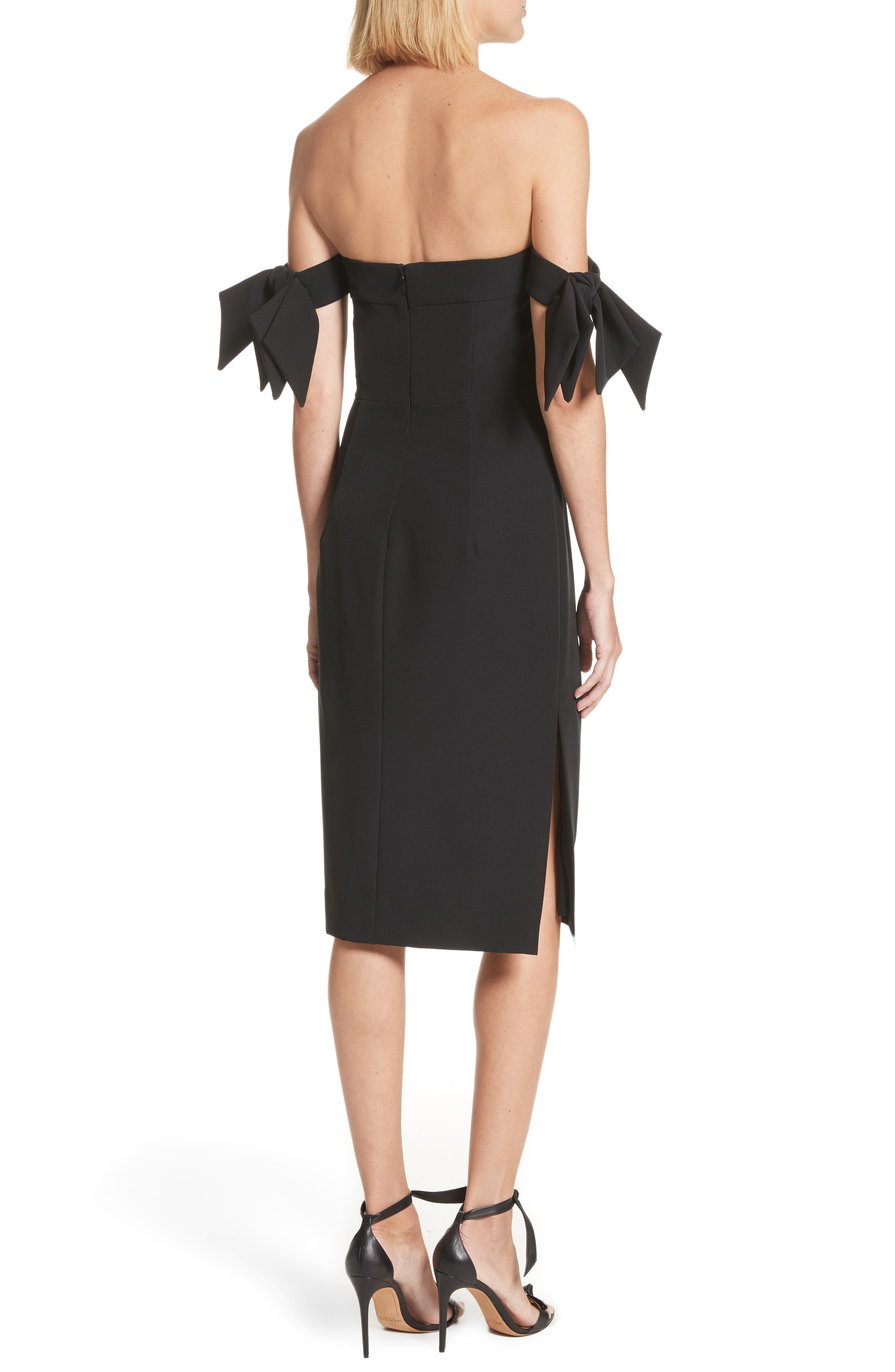 Brit Off the Shoulder Stretch Cady Sheath Dress,                             Alternate thumbnail 2, color,                             Black