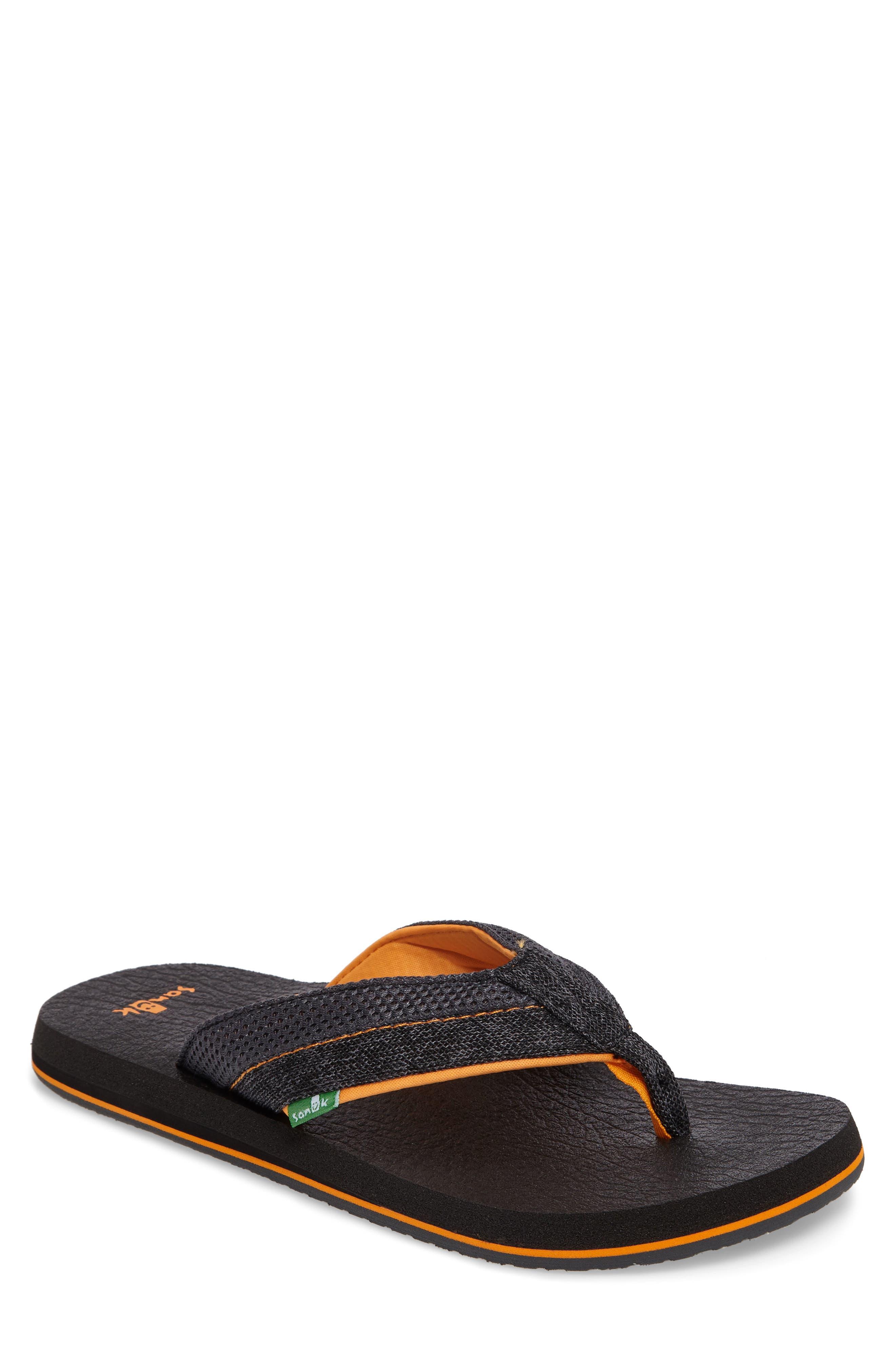 Beer Cozy Flip Flop,                         Main,                         color, Black/ Charcoal/ Orange