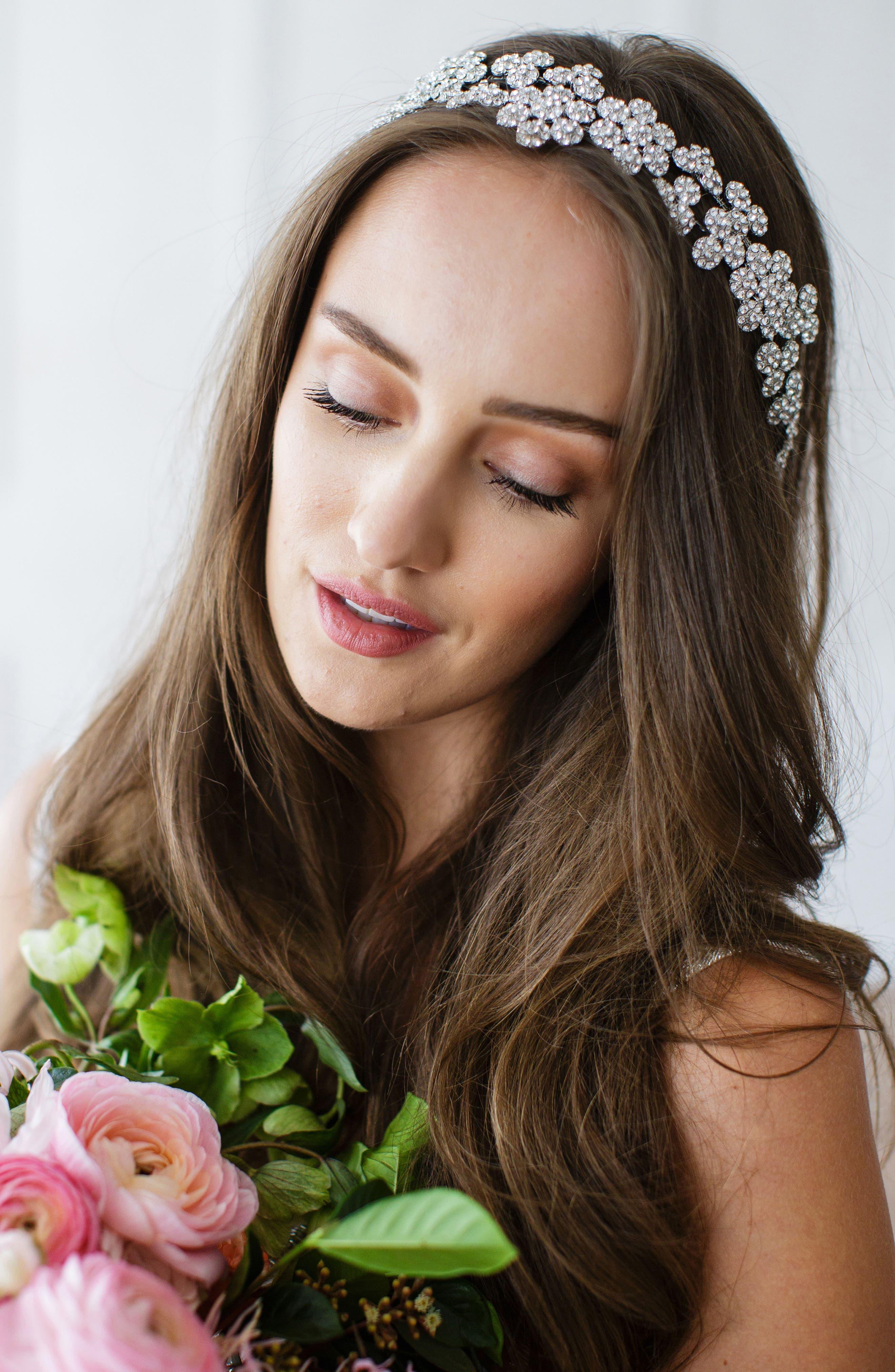 Alternate Image 1 Selected - Brides & Hairpins Fiora Crystal Halo & Sash