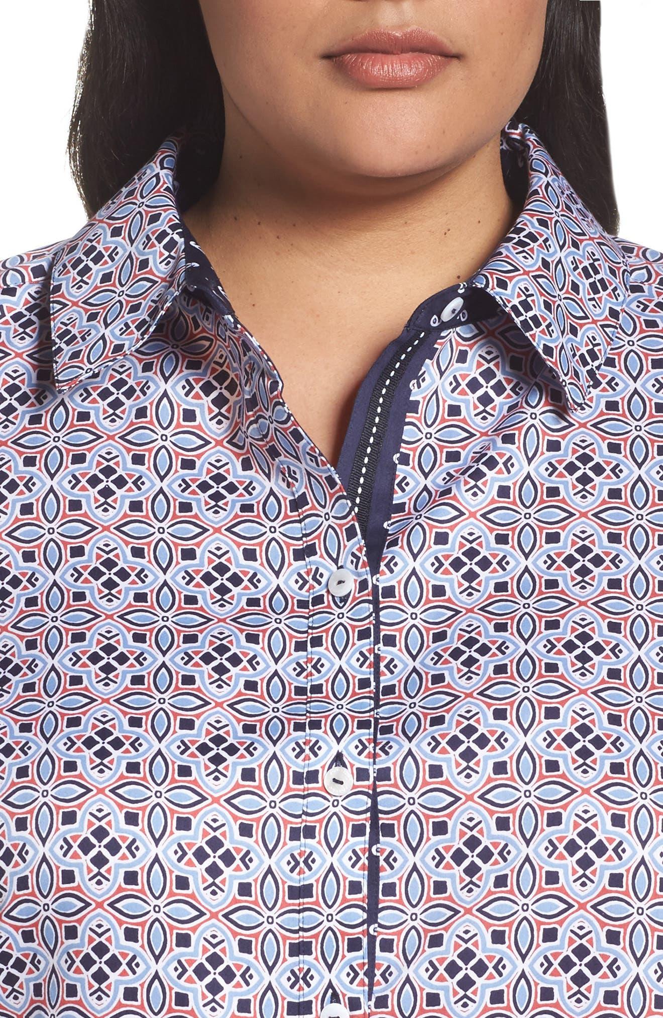 Alternate Image 4  - Foxcroft Ava Non-Iron Tile Print Cotton Shirt (Plus Size)