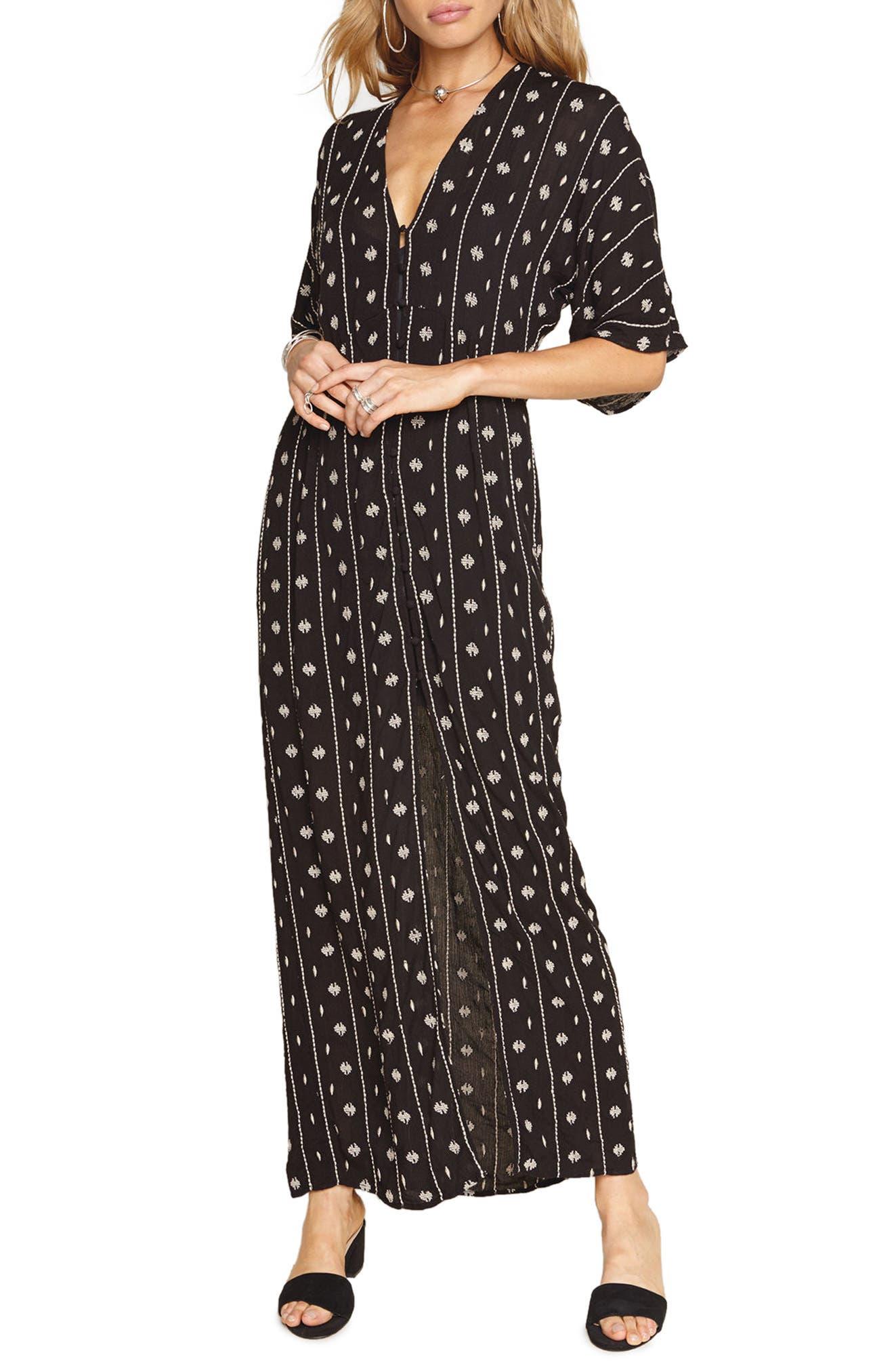 Lyla Print Maxi Dress,                             Main thumbnail 1, color,                             Black Sands
