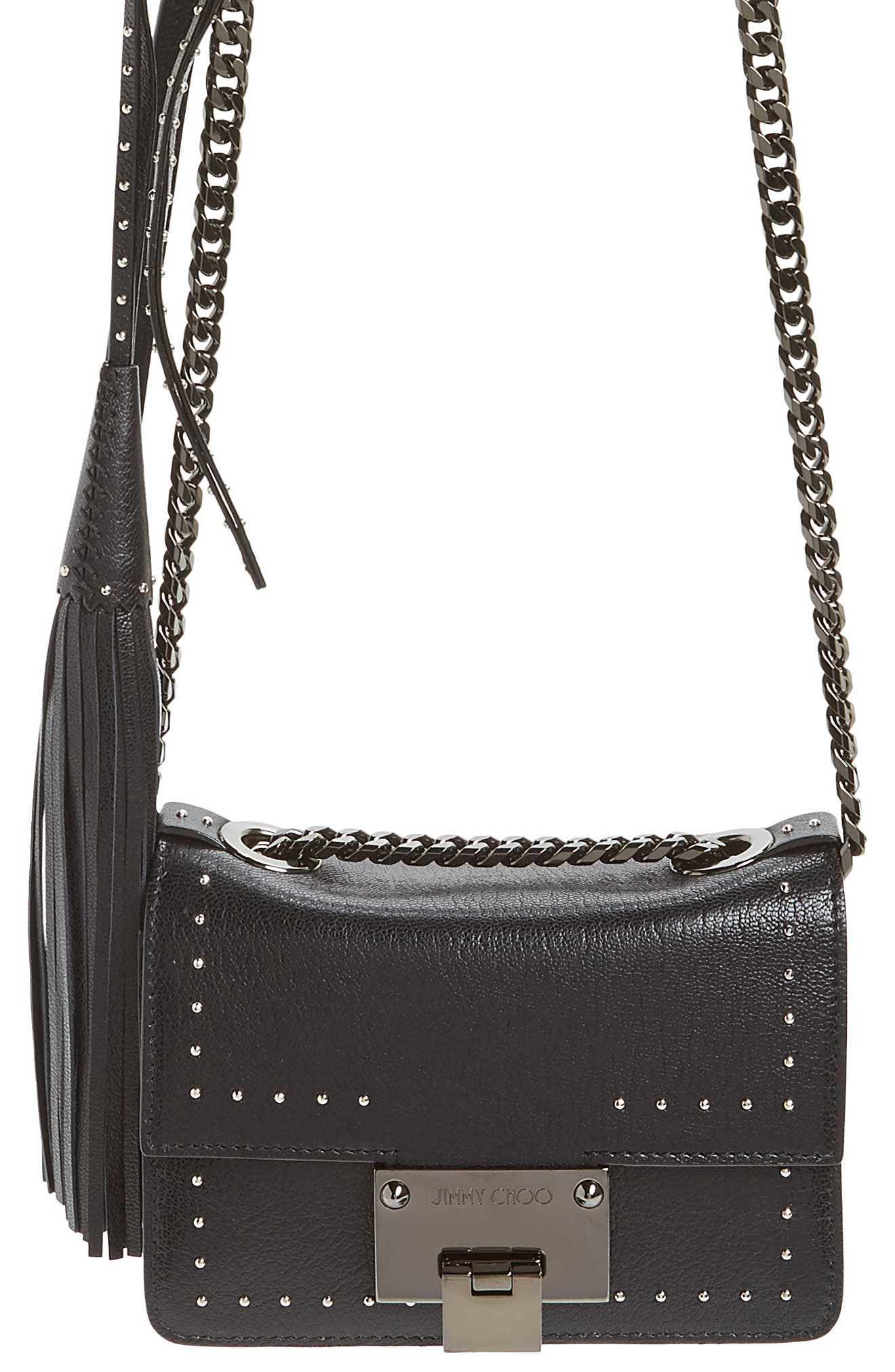 Mini Rebel Studded Leather Shoulder Bag,                             Alternate thumbnail 5, color,                             Black