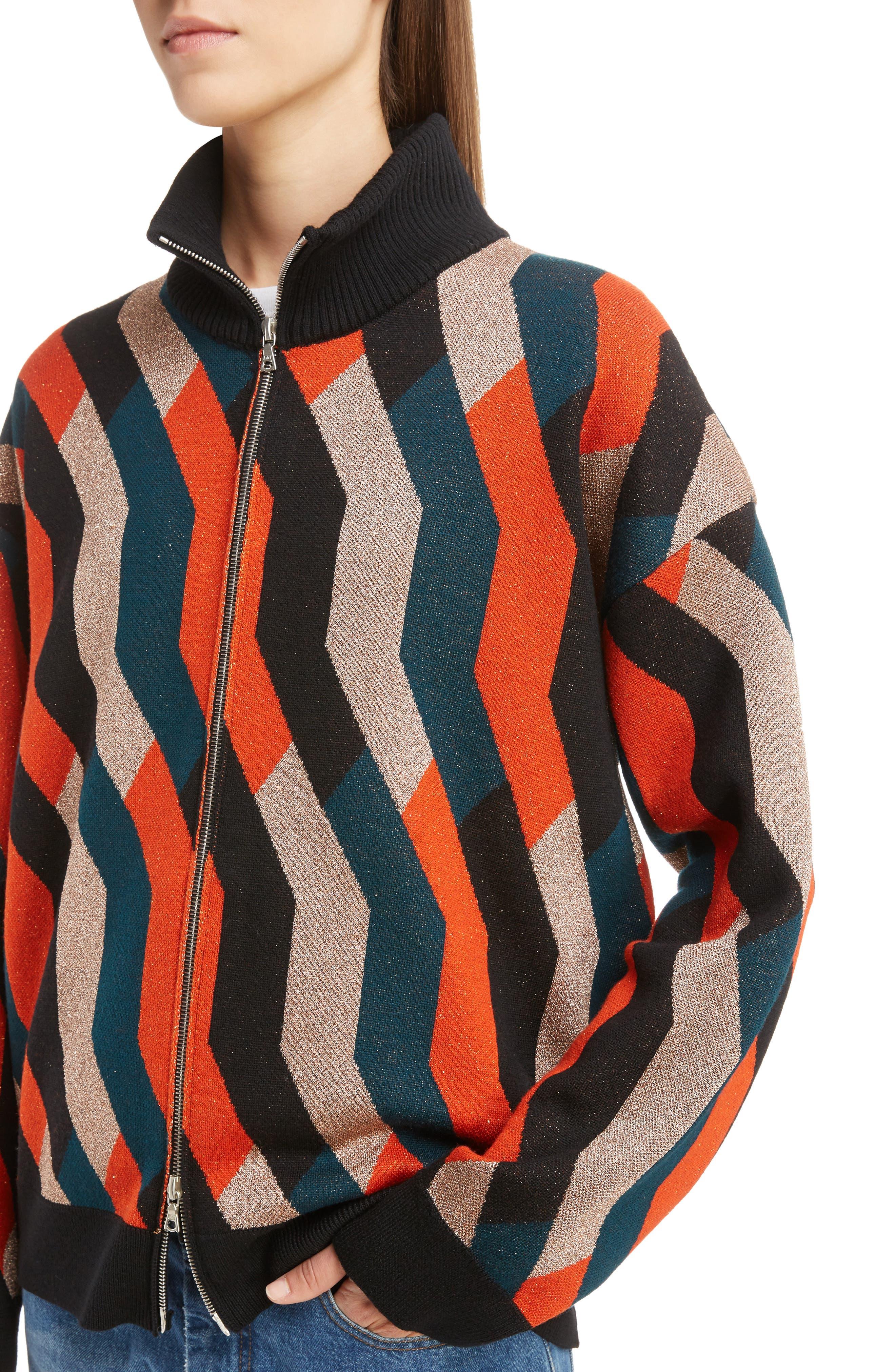 Graphic Knit Merino Wool Cardigan,                             Alternate thumbnail 5, color,                             Skin