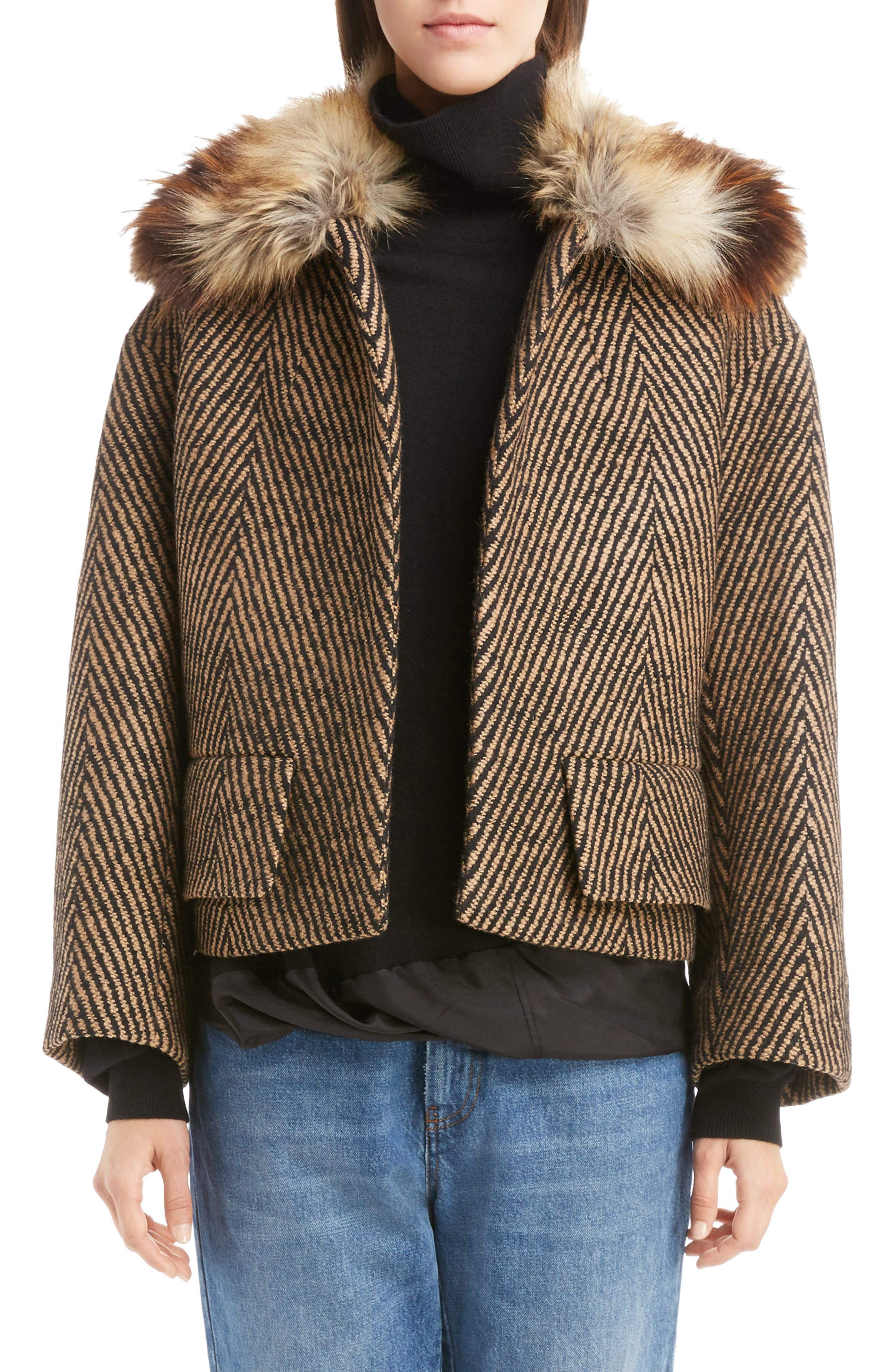 Faux Fur Collar Herringbone Coat,                         Main,                         color, Camel