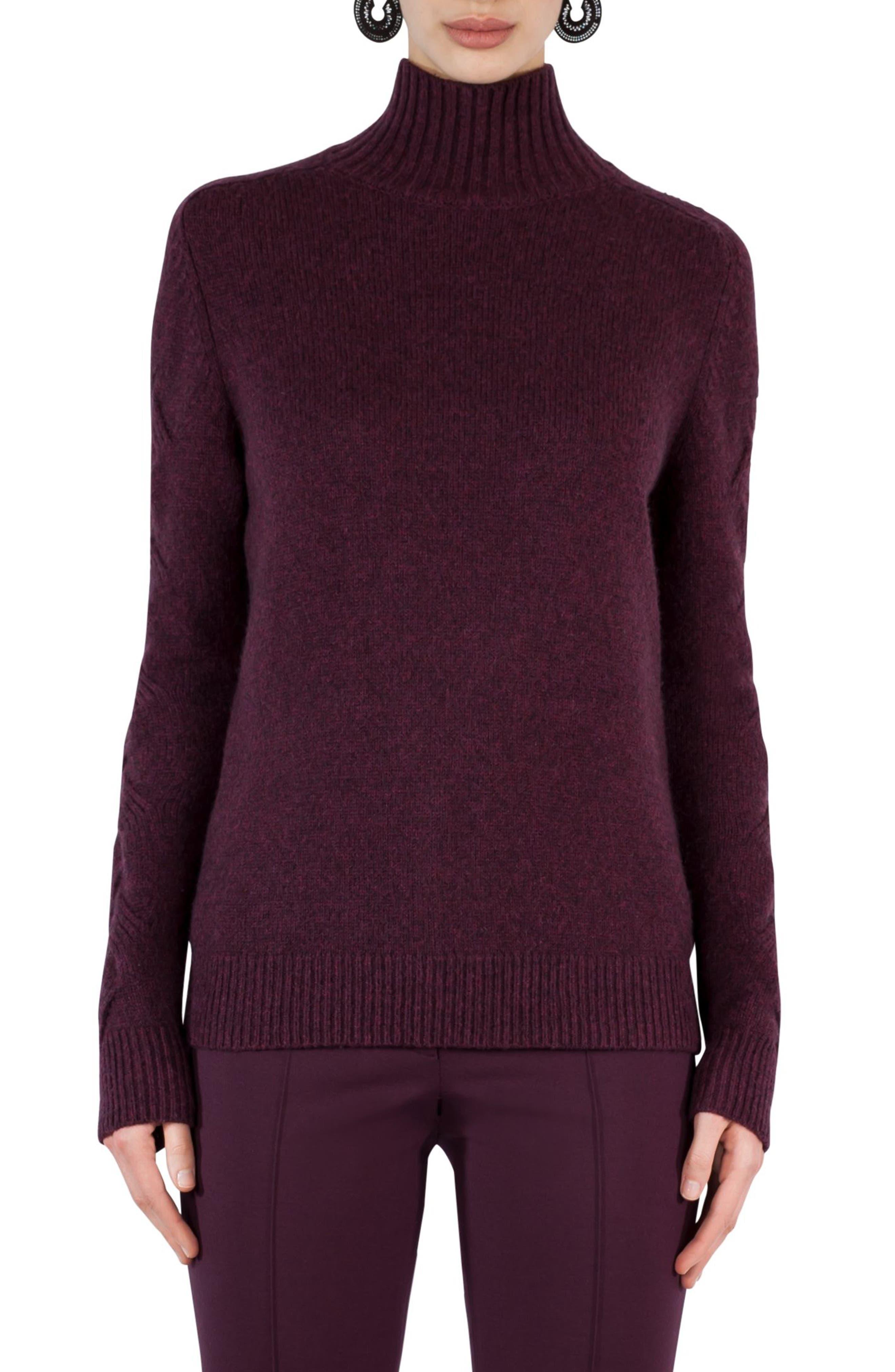 Wool Blend Turtleneck Sweater,                         Main,                         color, Wine