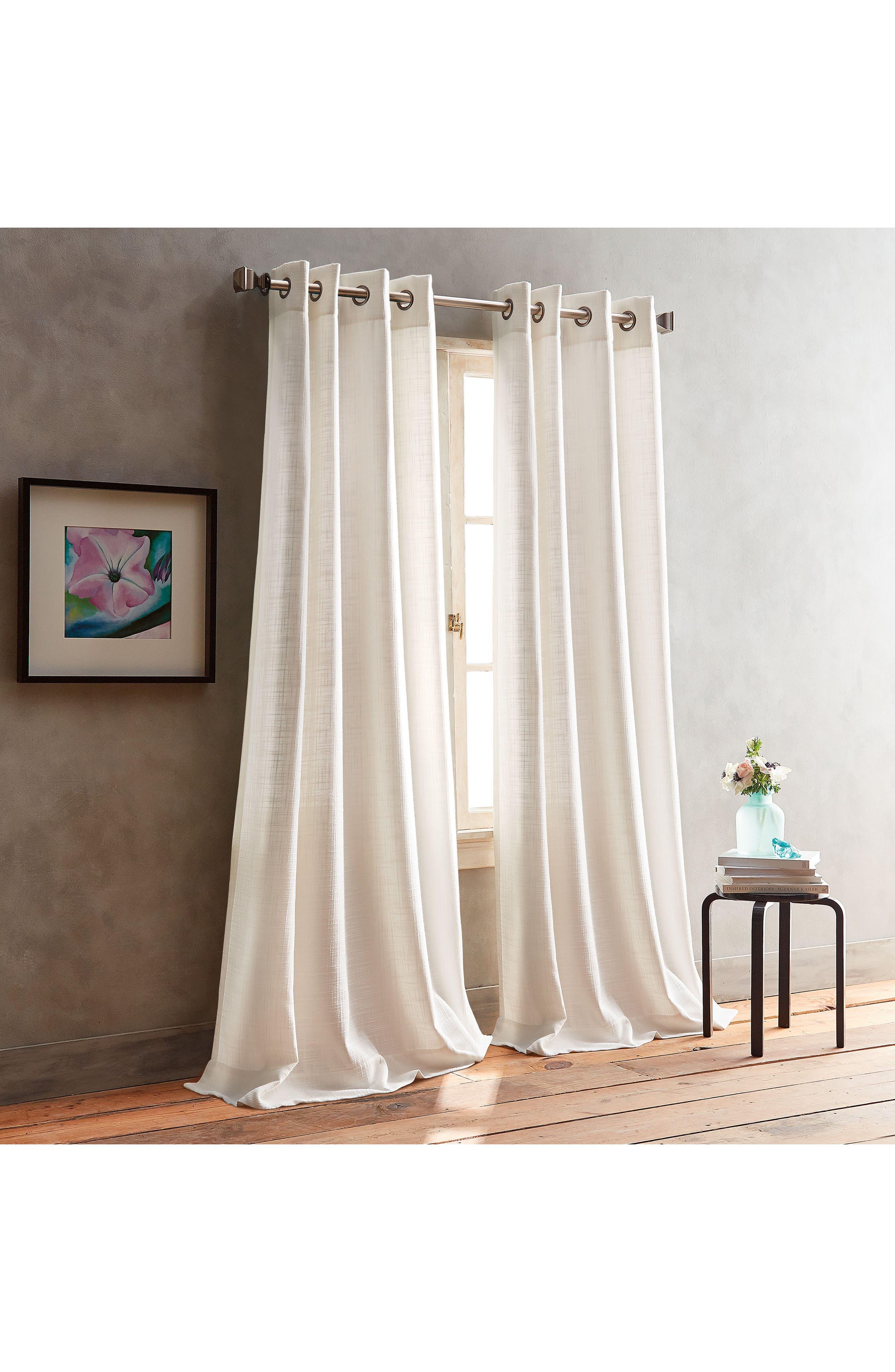 Bouclé Plaid Set of 2 Window Panels,                         Main,                         color, White