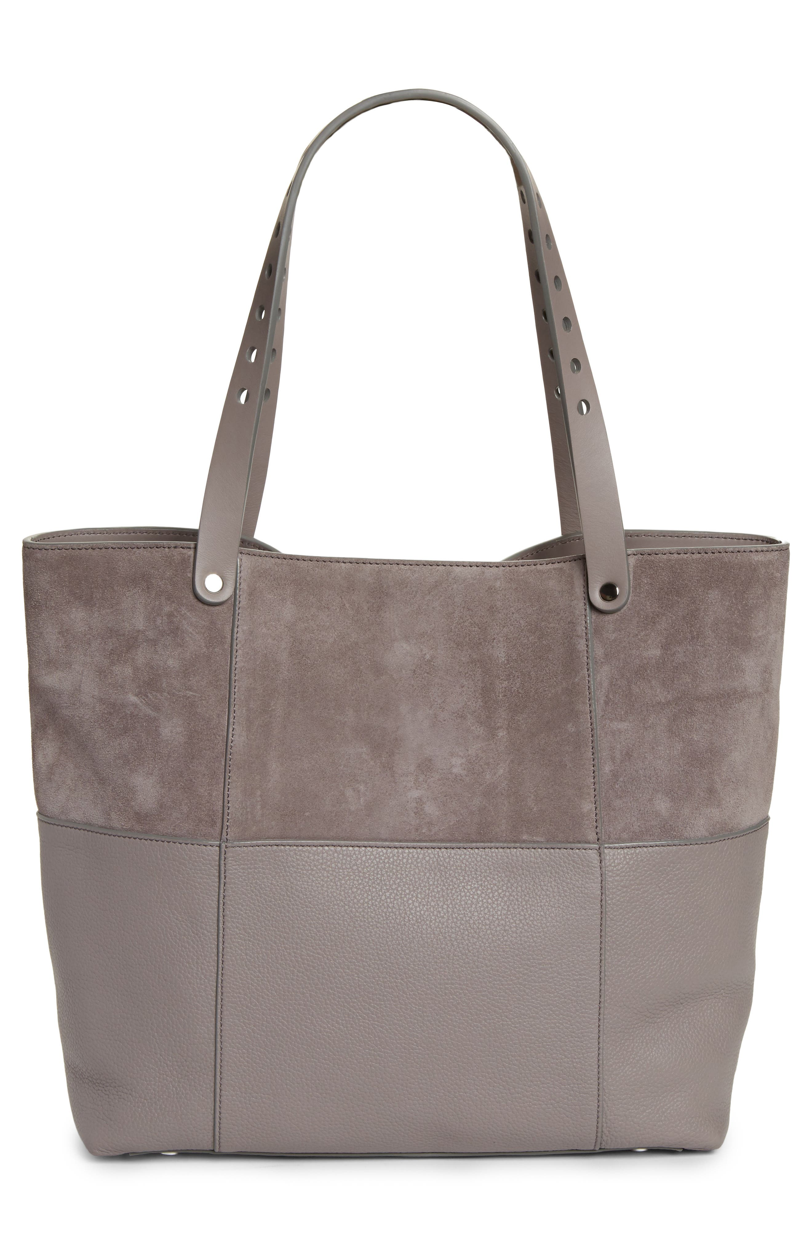 Riot Suede & Leather Tote,                             Alternate thumbnail 3, color,                             Grey