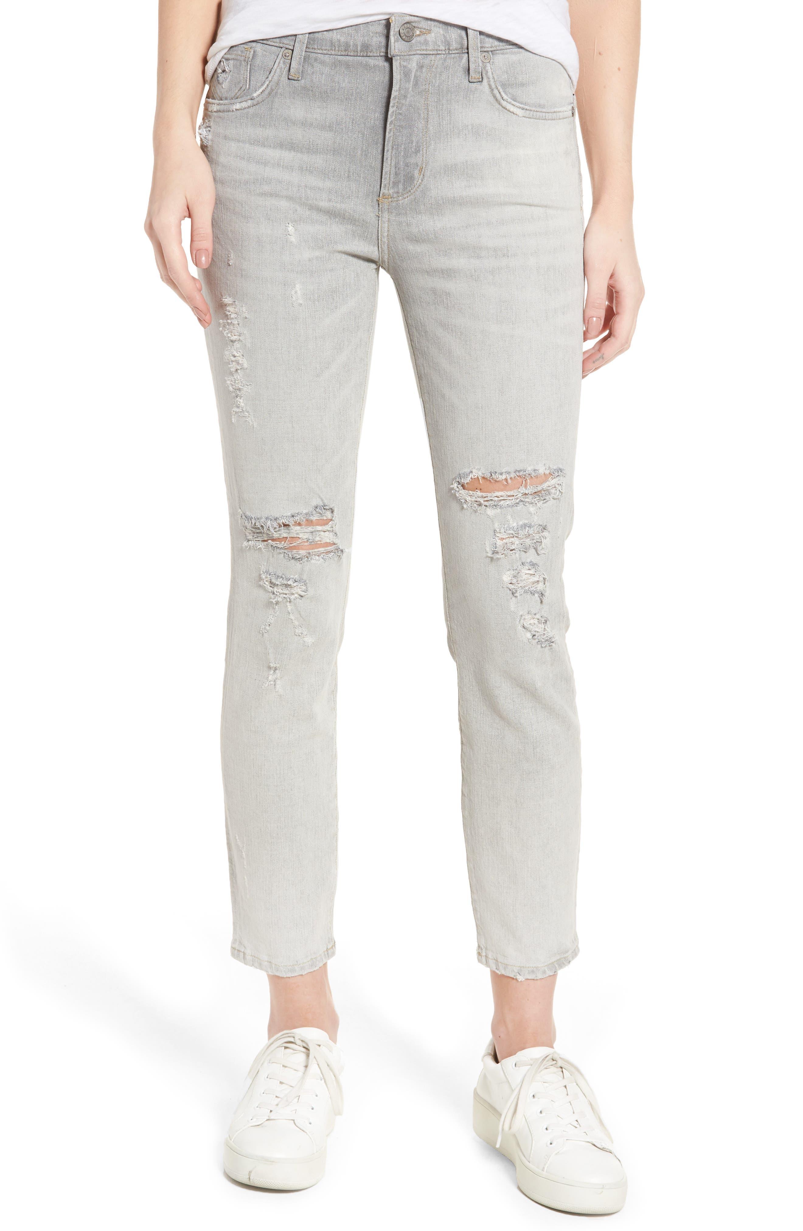 Main Image - AGOLDE Sophie High Waist Skinny Jeans (Portland Destruct)