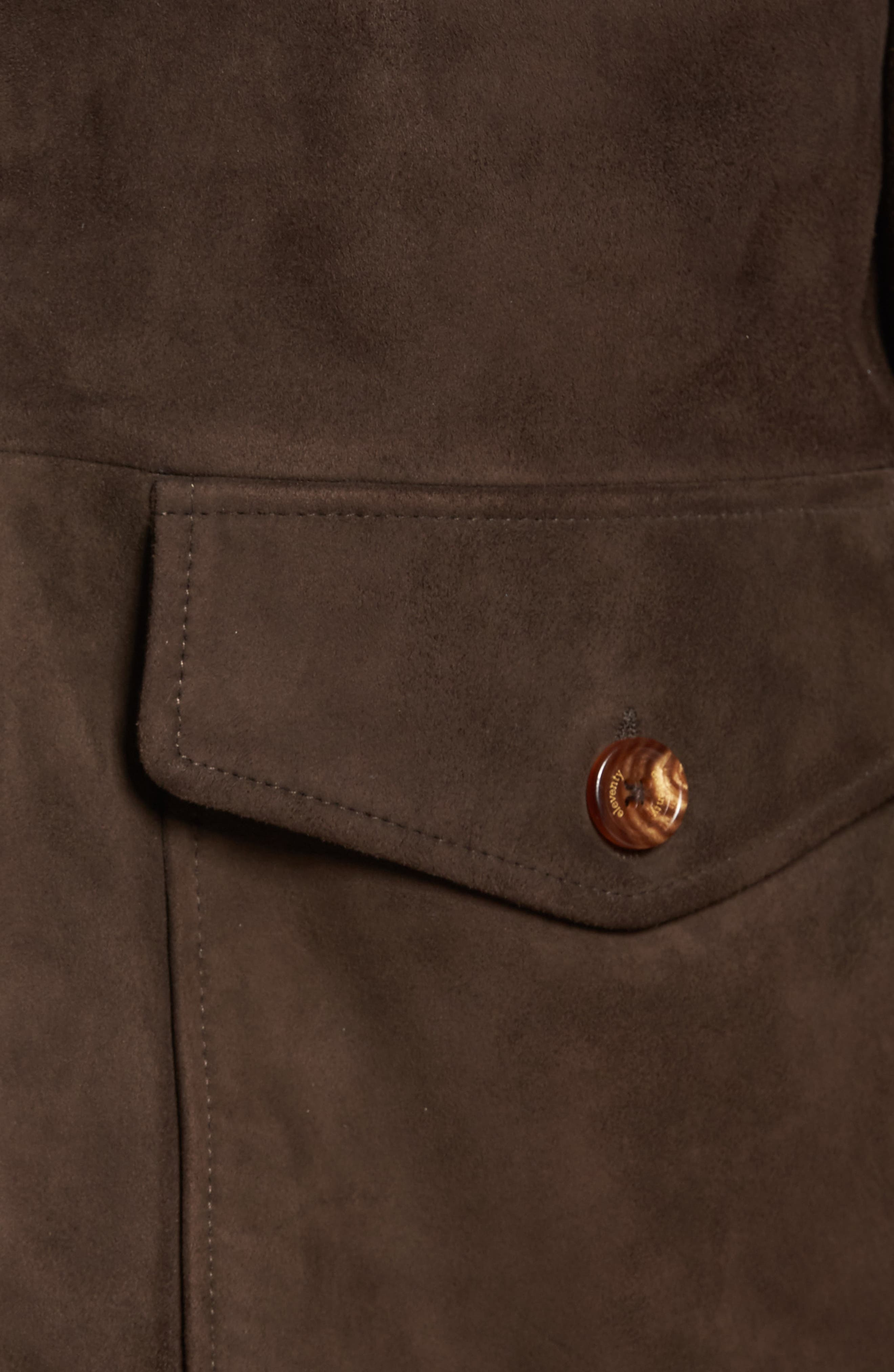 Suede Jacket,                             Alternate thumbnail 6, color,                             Chocolate Brown