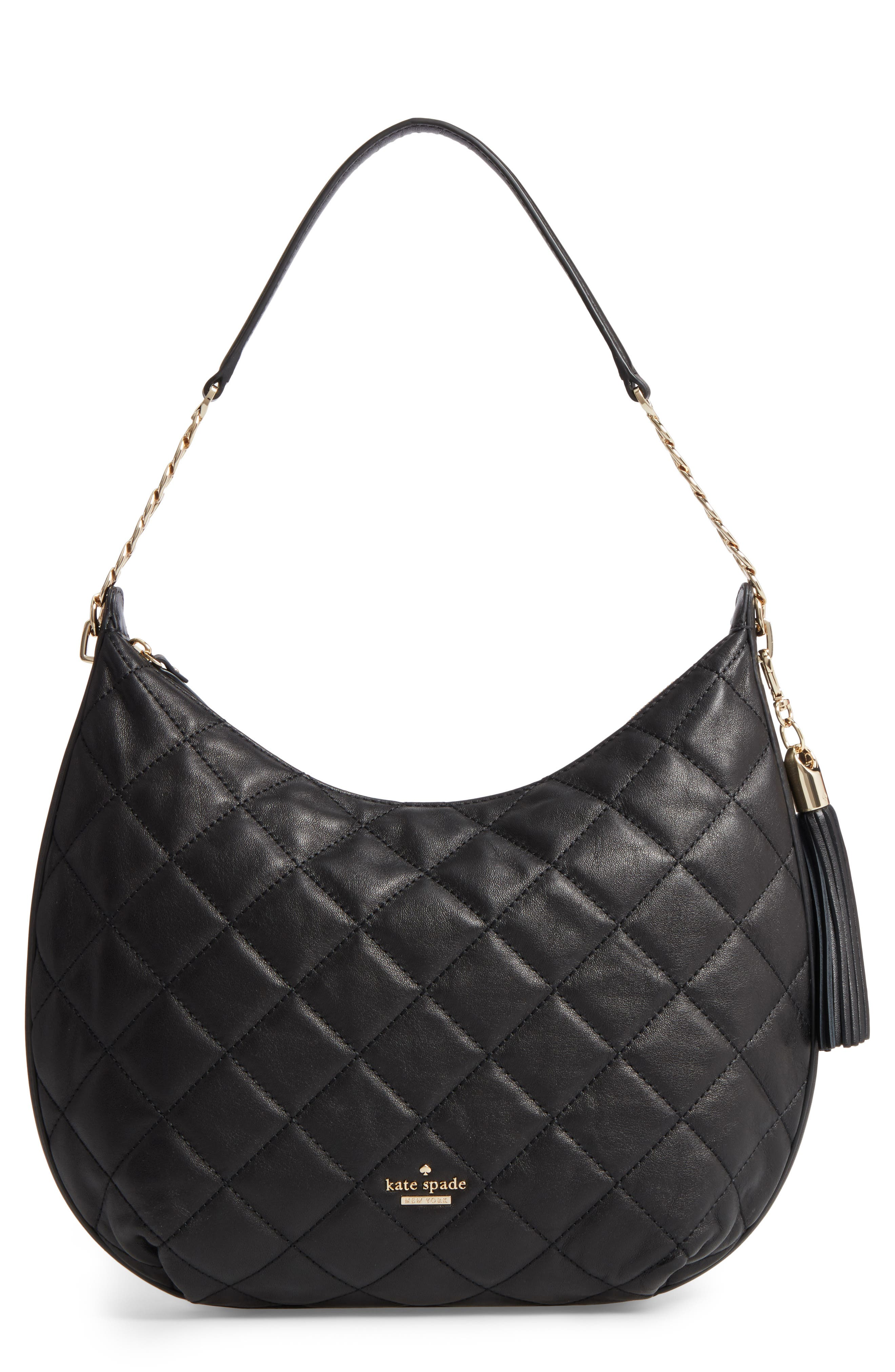 emerson place - tamsin leather hobo,                             Main thumbnail 1, color,                             Black